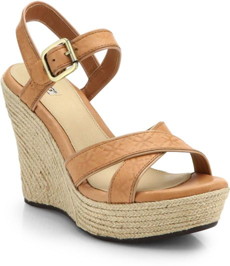 Ugg Jackilyn Leather Wedge Sandals In Brown Putty Lyst