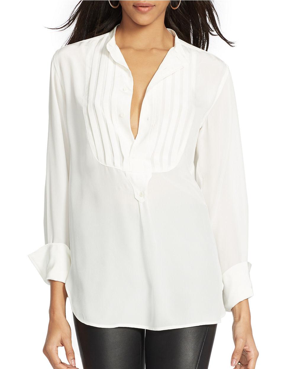 Lyst - Polo Ralph Lauren Silk Pintuck Long-sleeve Shirt in ...