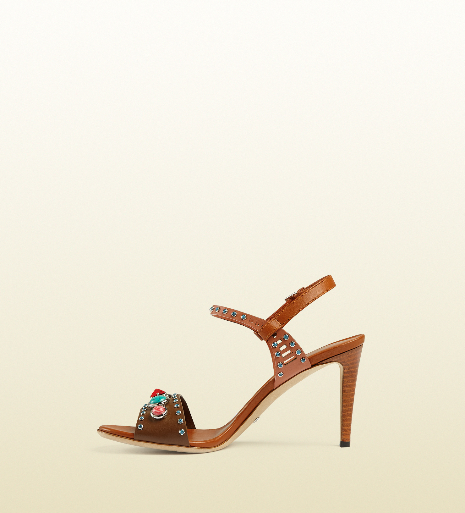 1502b8ceb17 Gucci Lika Embroidered Leather Sandal in Brown - Lyst