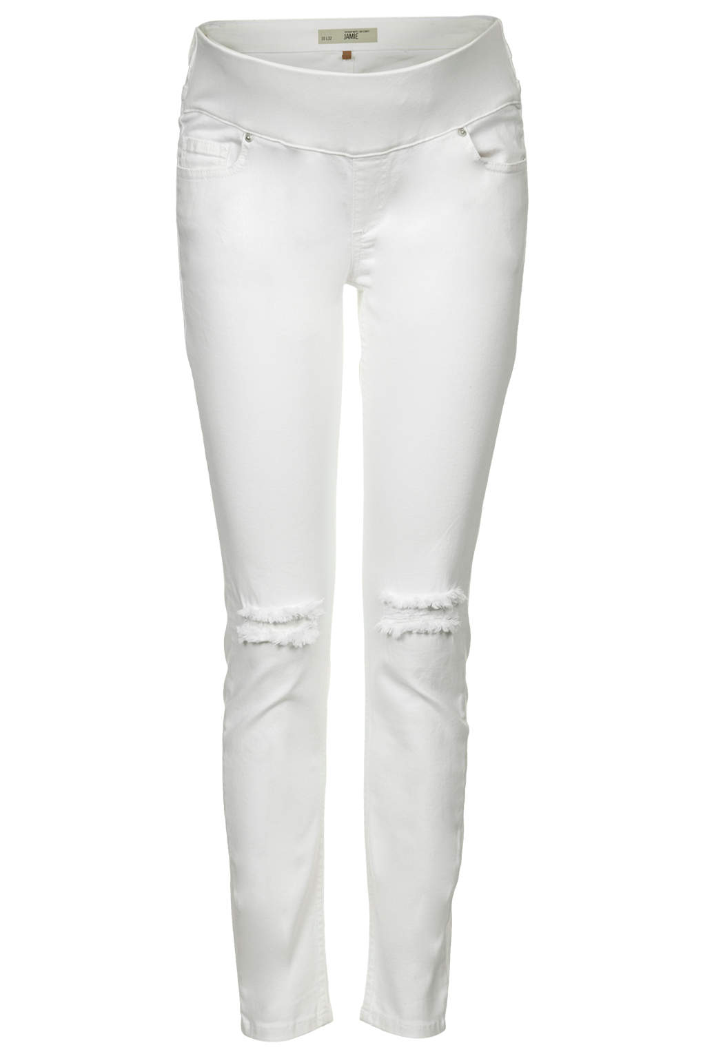 Topshop Maternity Moto White Ripped Jamie Jeans in White | Lyst