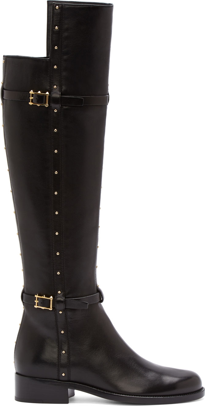 Valentino Black Leather Gold Studded Dotcom Riding Boots in Black ...
