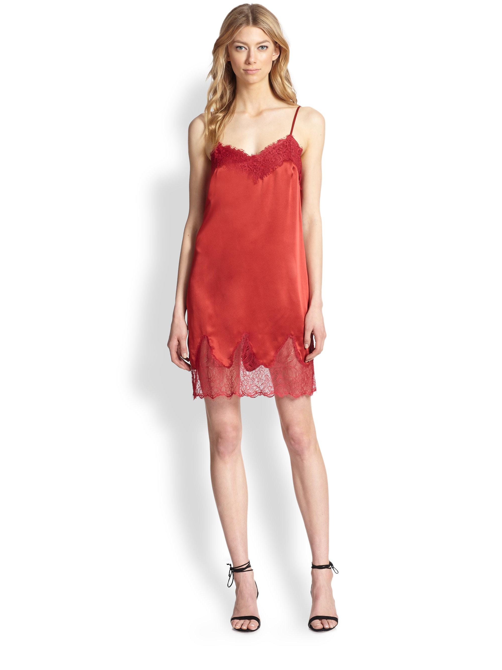 Asos Cami Slip Dress in Red | Lyst
