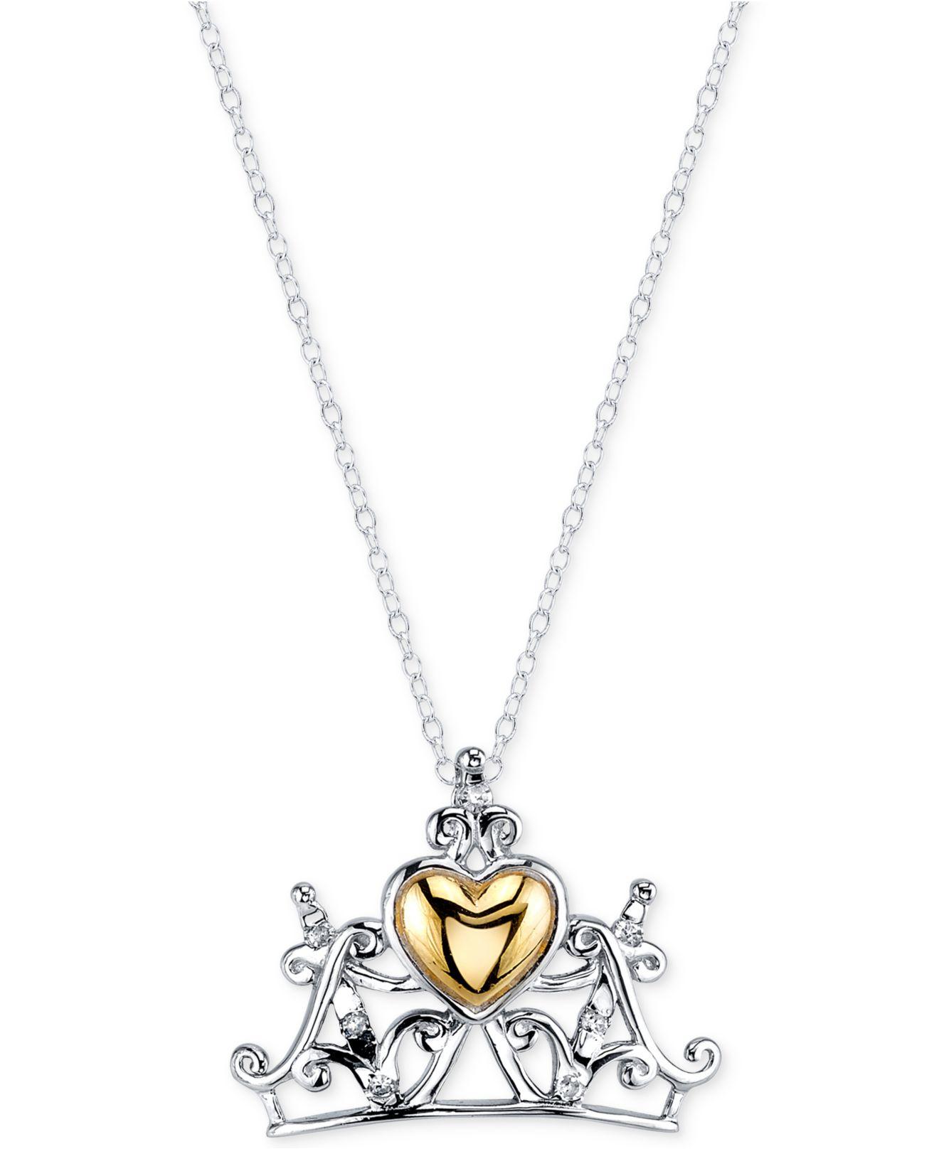 Lyst Disney Diamond Accent Princess Tiara Pendant