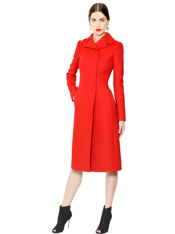 ea6de296b6b0b Lyst - Dolce   Gabbana Wool   Cashmere Coat in Red