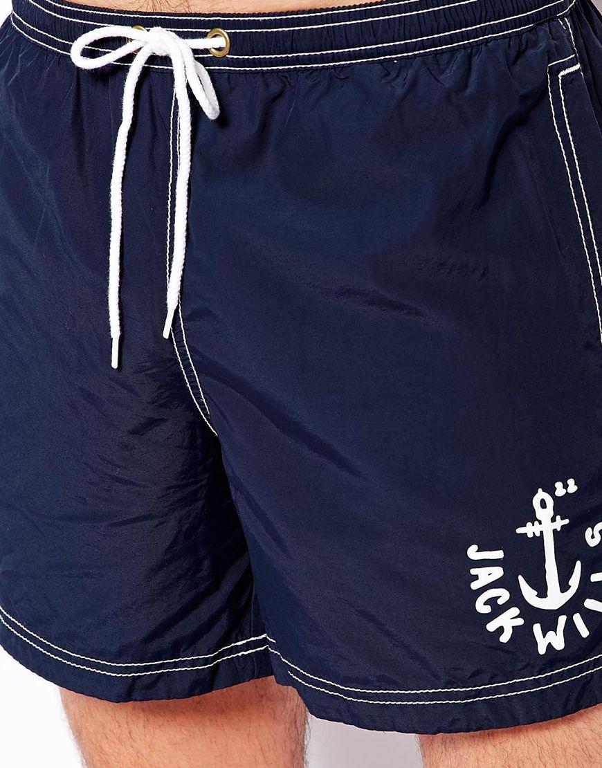 Jack wills Plain Swim Shorts Navy Blue in Blue for Men | Lyst