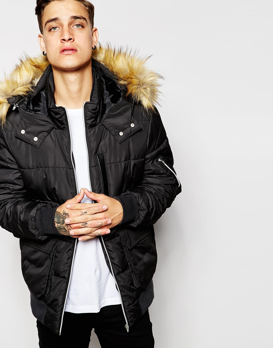Asos Short Quilted Parka With Faux Fur Hood In Black in Black for