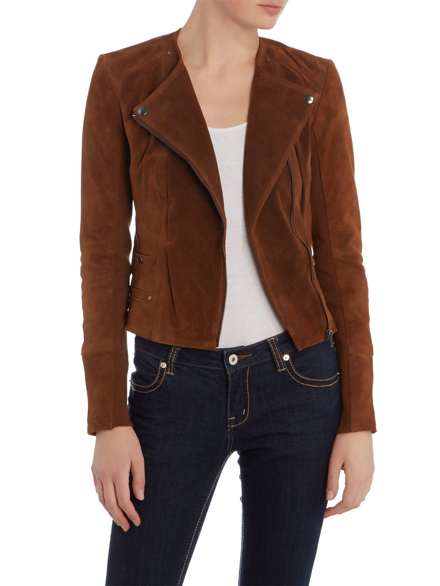 vero moda long sleeve suede jacket in brown lyst. Black Bedroom Furniture Sets. Home Design Ideas
