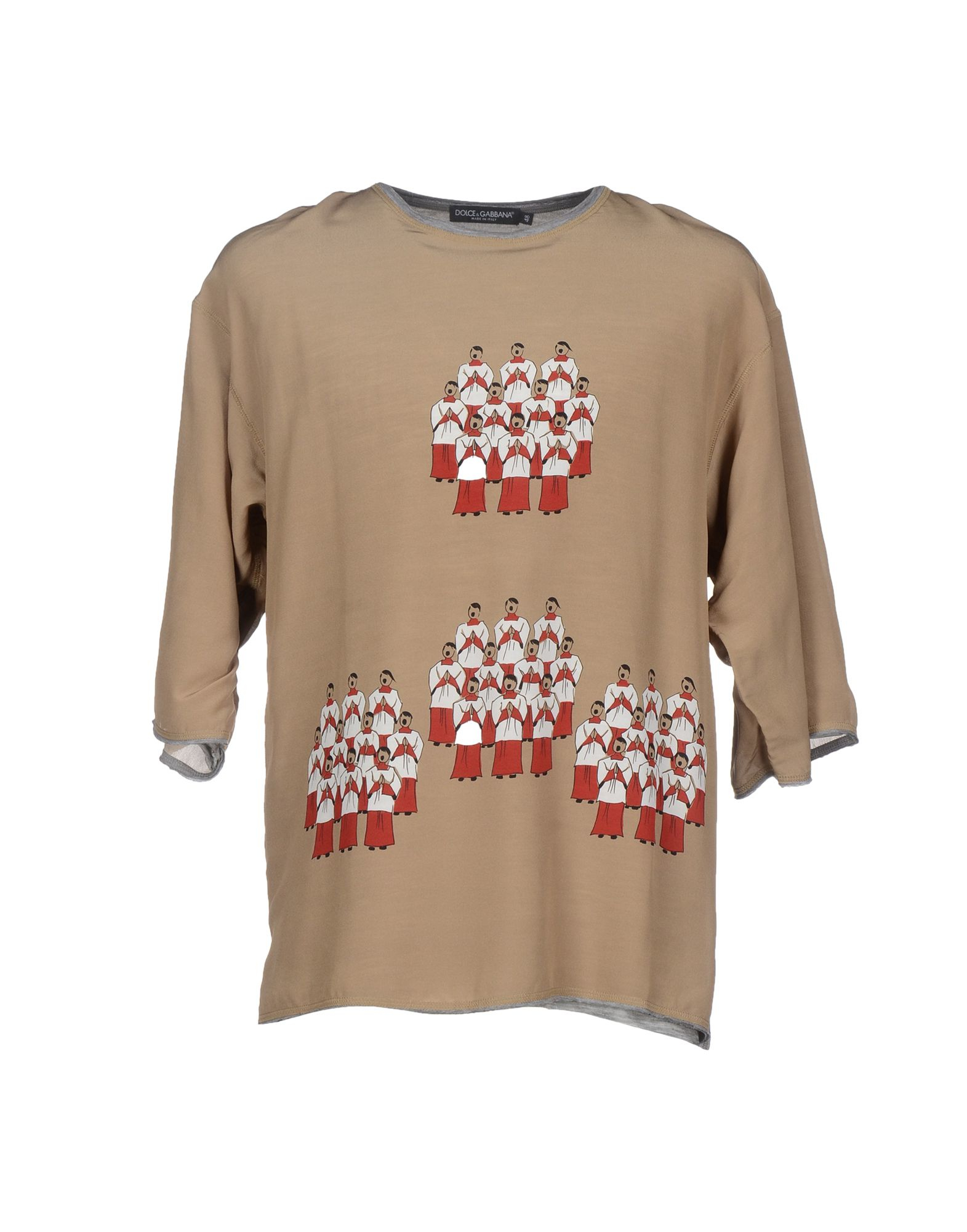 Dolce gabbana t shirt in brown lyst for Dolce gabbana t shirt women