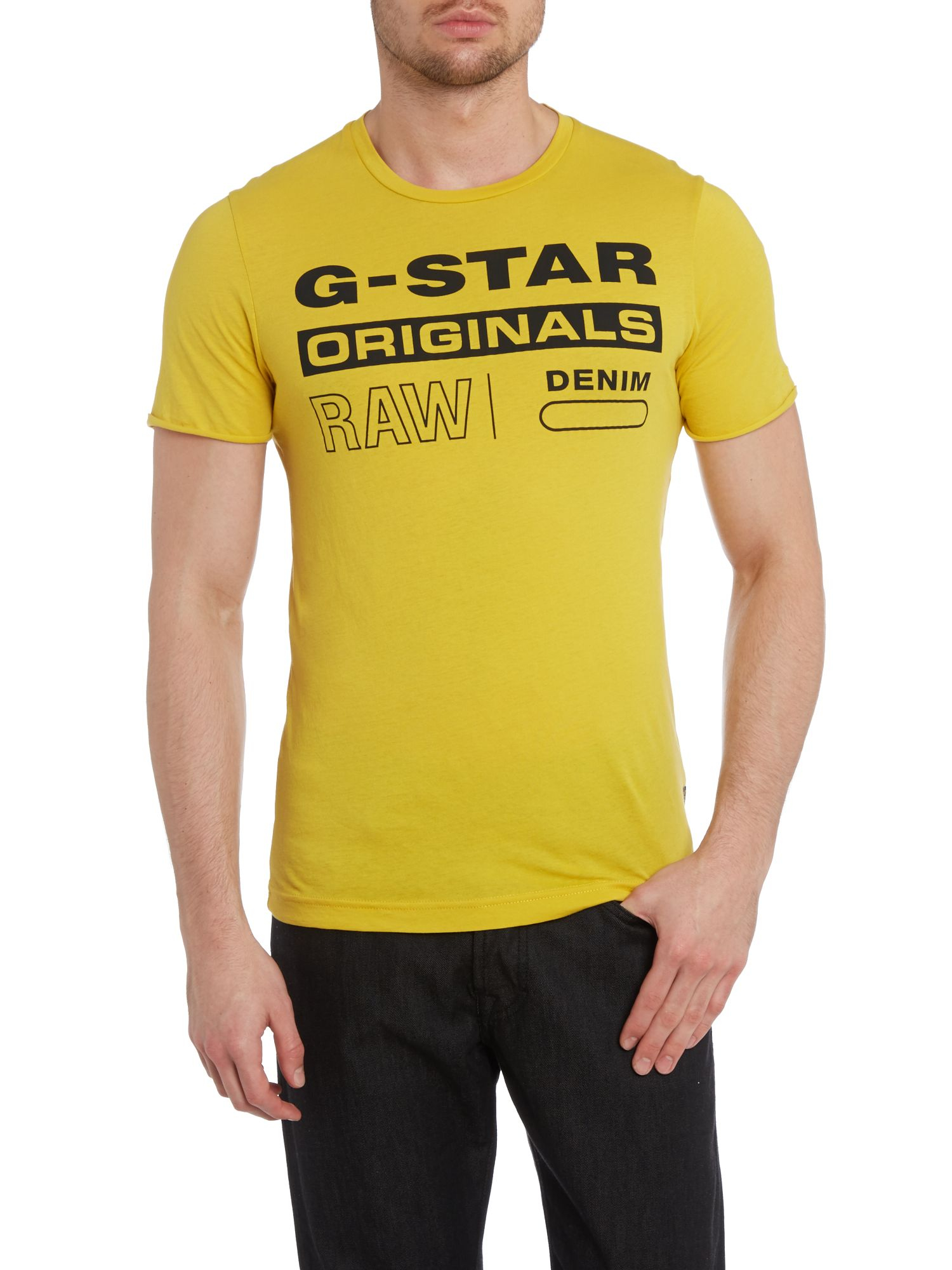 g star raw crew neck t shirt in yellow for men lyst. Black Bedroom Furniture Sets. Home Design Ideas