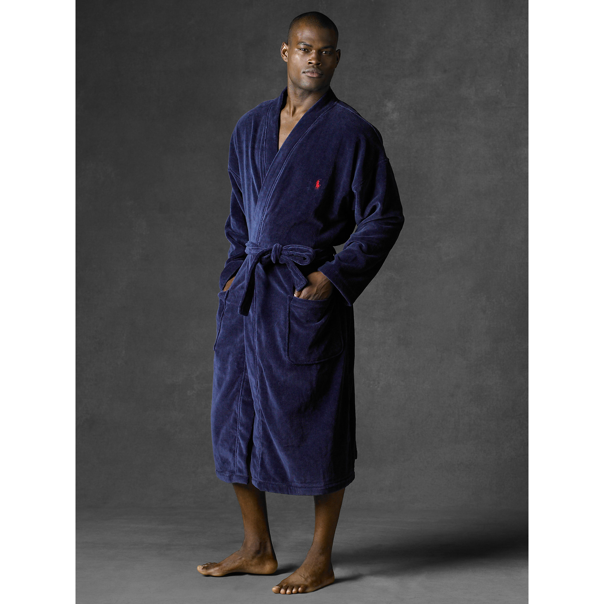 polo ralph lauren terry kimono robe in blue for men lyst. Black Bedroom Furniture Sets. Home Design Ideas