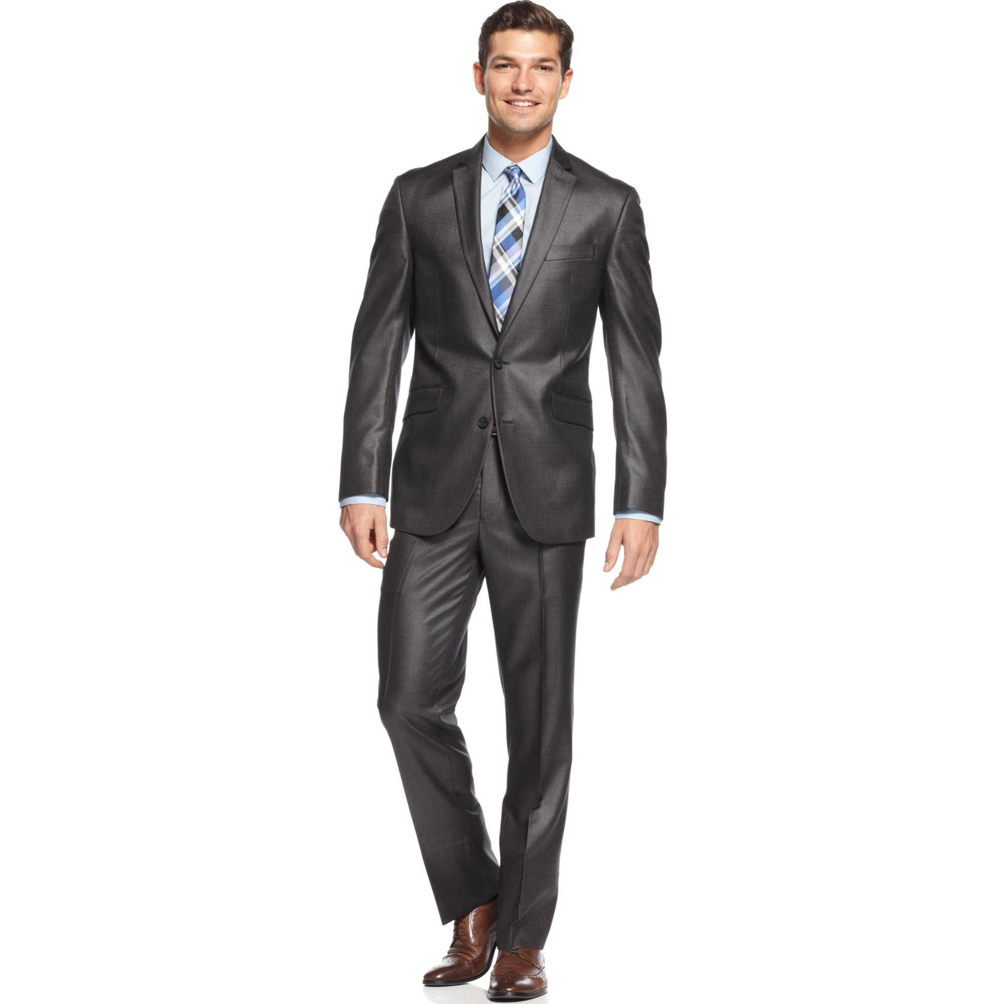 Kenneth Cole Reaction Charcoal Basketweave Slim-Fit Suit ...