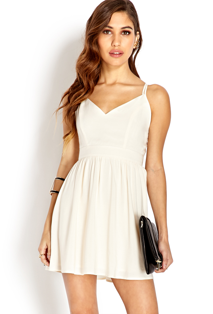 Forever 21 Strappy Fit Amp Flare Dress In Beige Cream Lyst