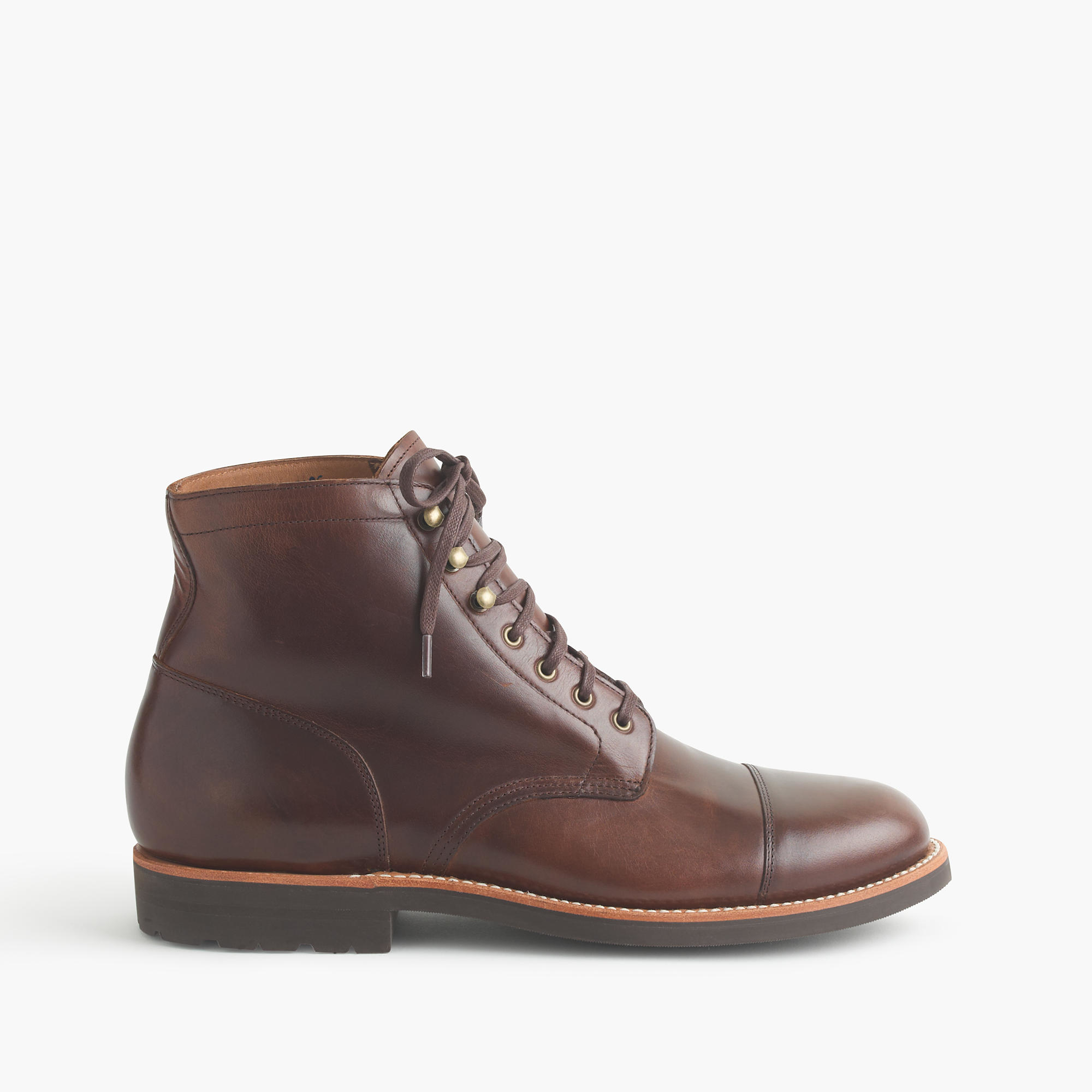 j crew kenton leather cap toe boots in brown for lyst