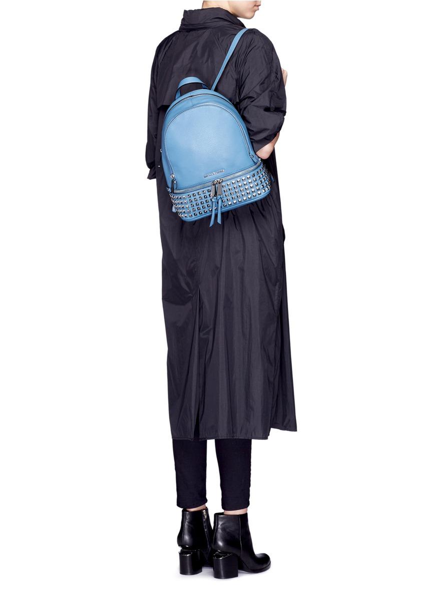 f2e3294c7f Michael Kors  rhea  Small Stud Leather Backpack in Blue - Lyst