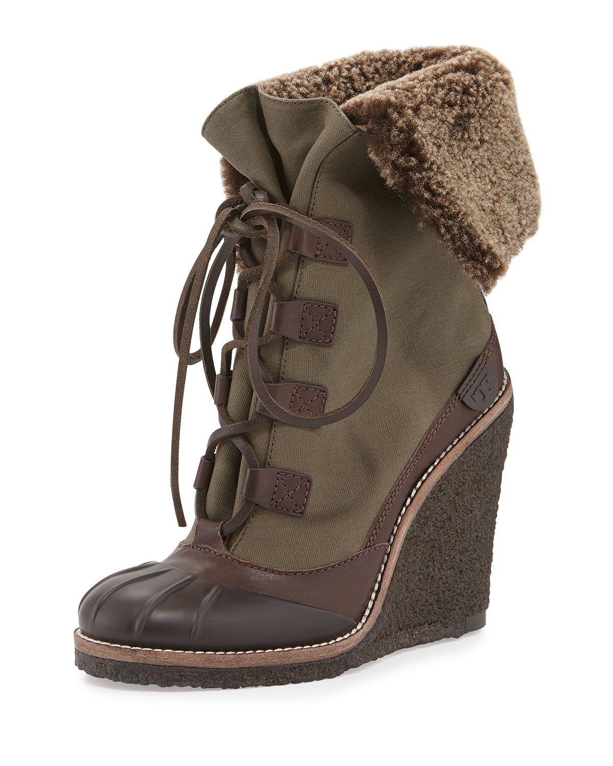 590437d9e04b9 Lyst - Tory Burch Fairfax Shearling-Lined Wedge Boot in Brown