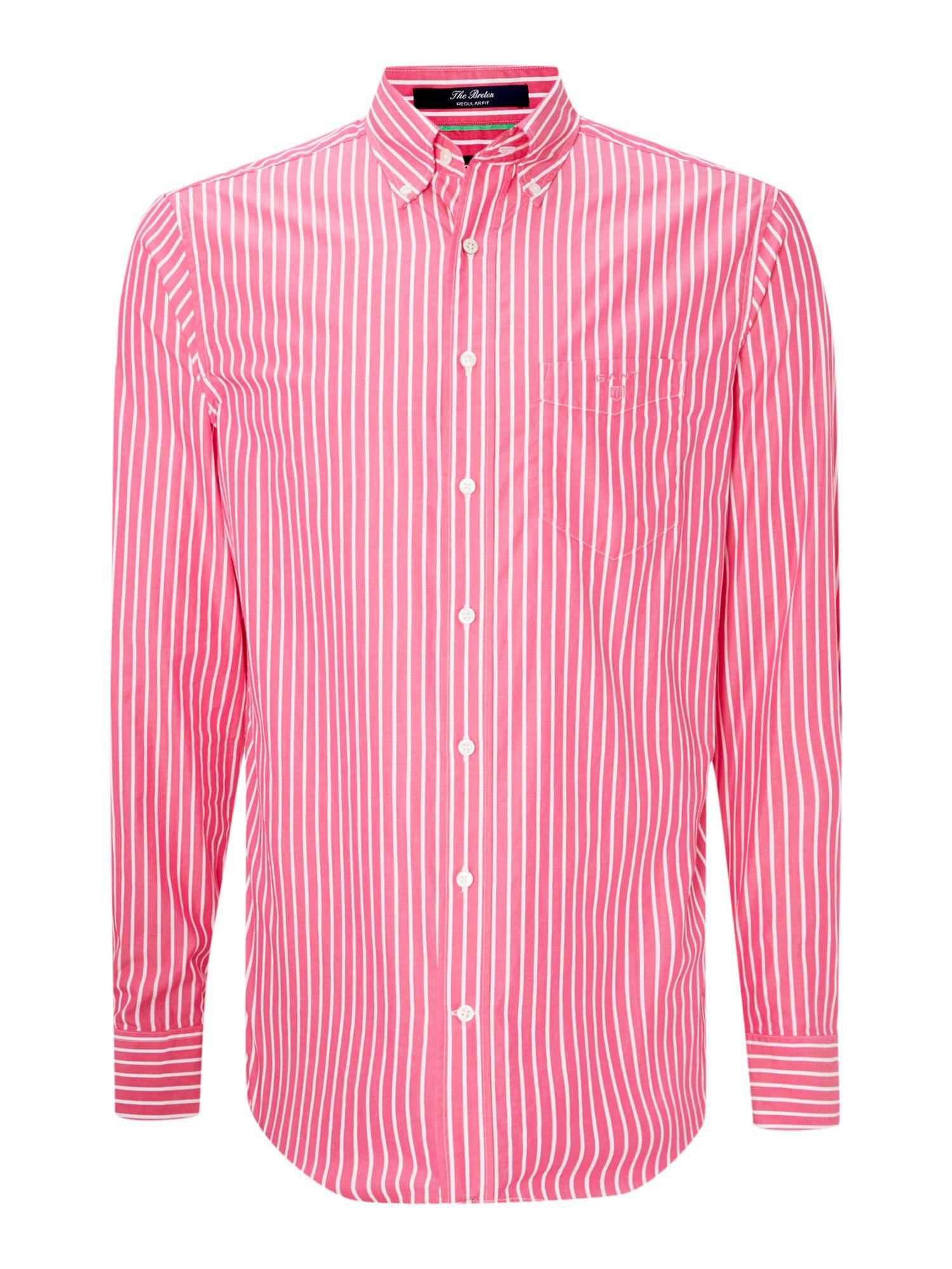 Gant long sleeve striped shirt in pink for men lyst for Mens pink long sleeve shirt