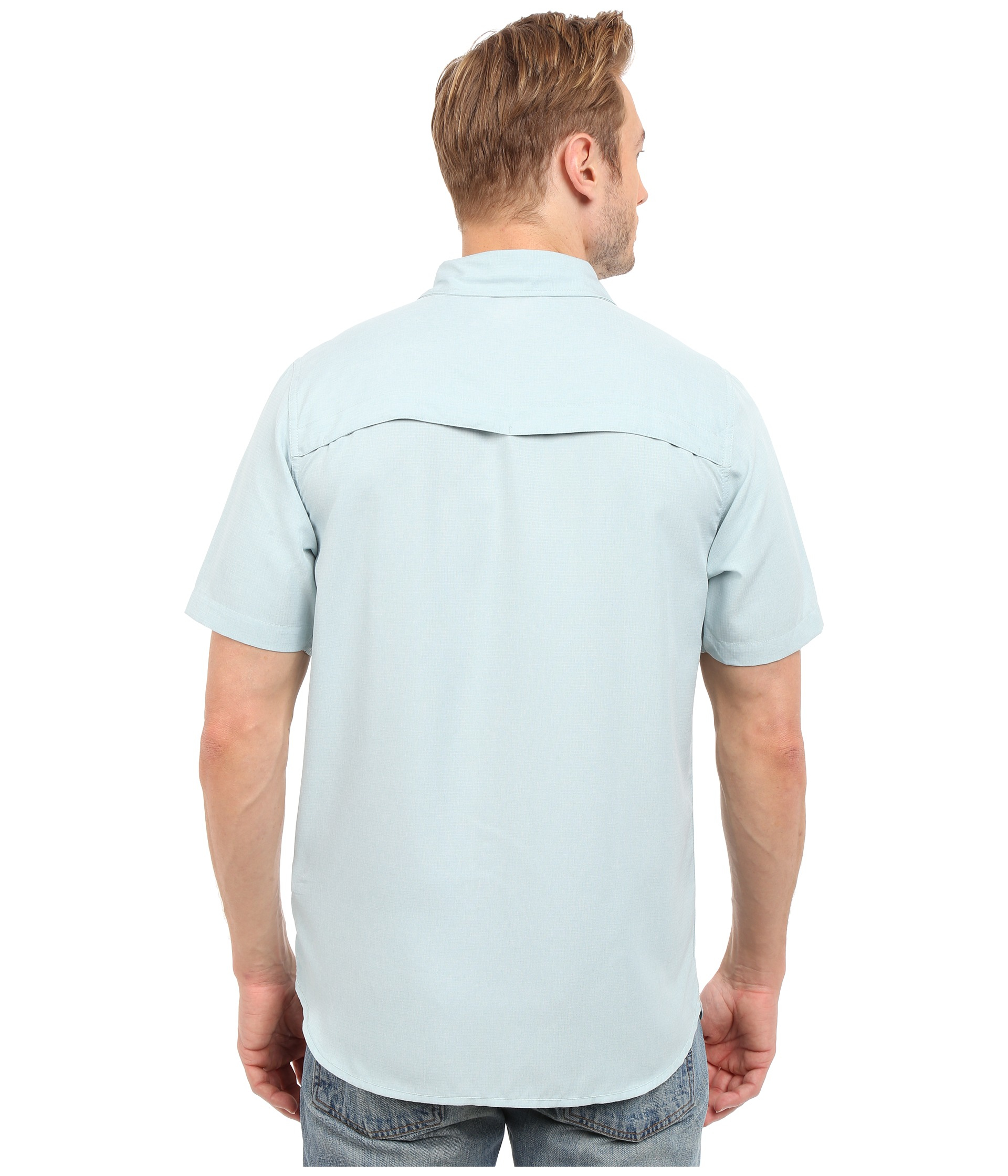 The north face short sleeve traverse shirt in blue for men for The north face short sleeve shirt