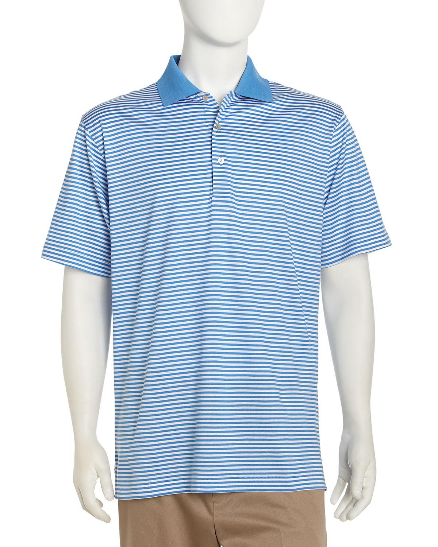 Lyst peter millar classic striped golf shirt in blue for men for Peter millar golf shirts