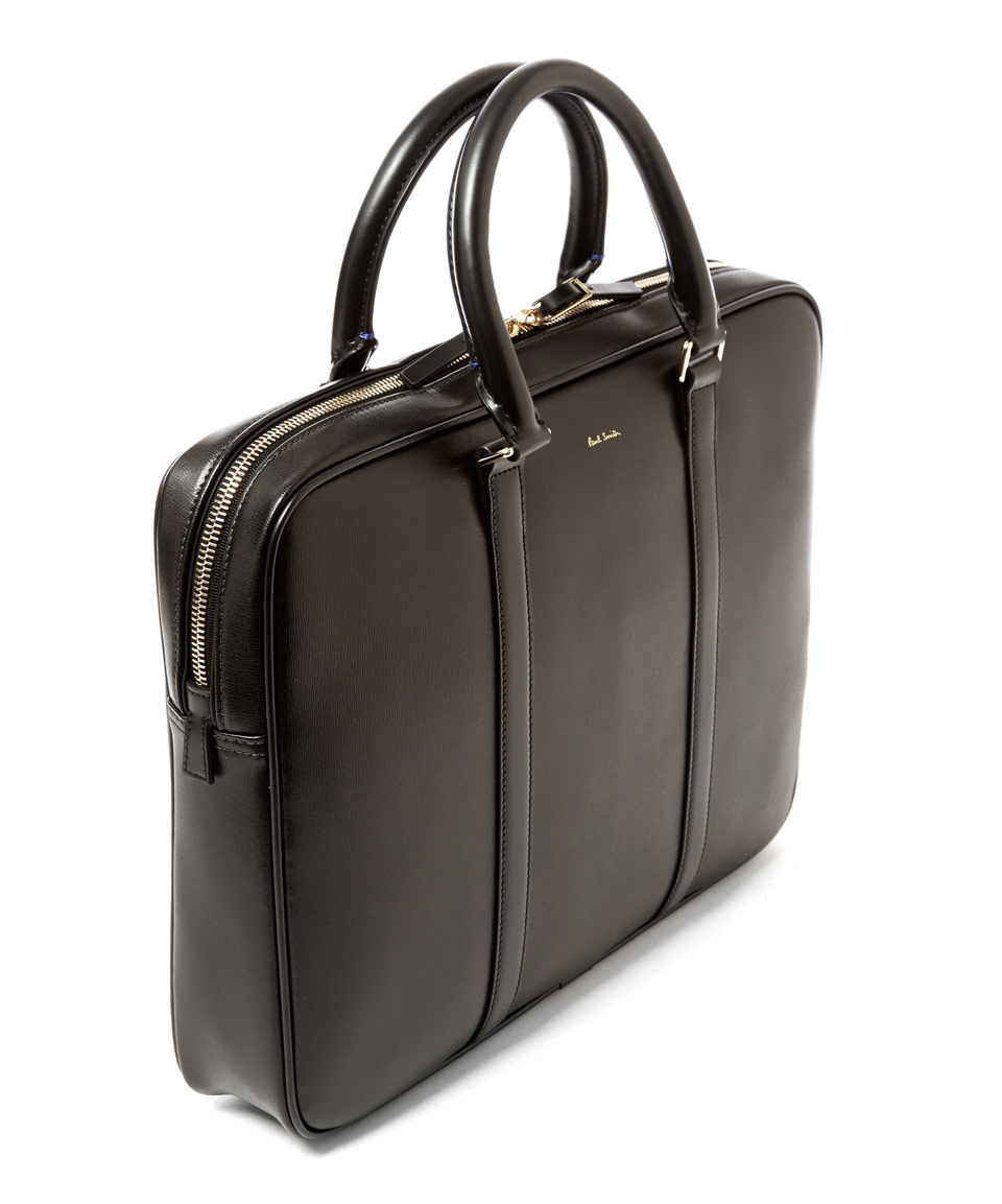 Paul Smith Black City Embossed Slim Leather Briefcase in ...