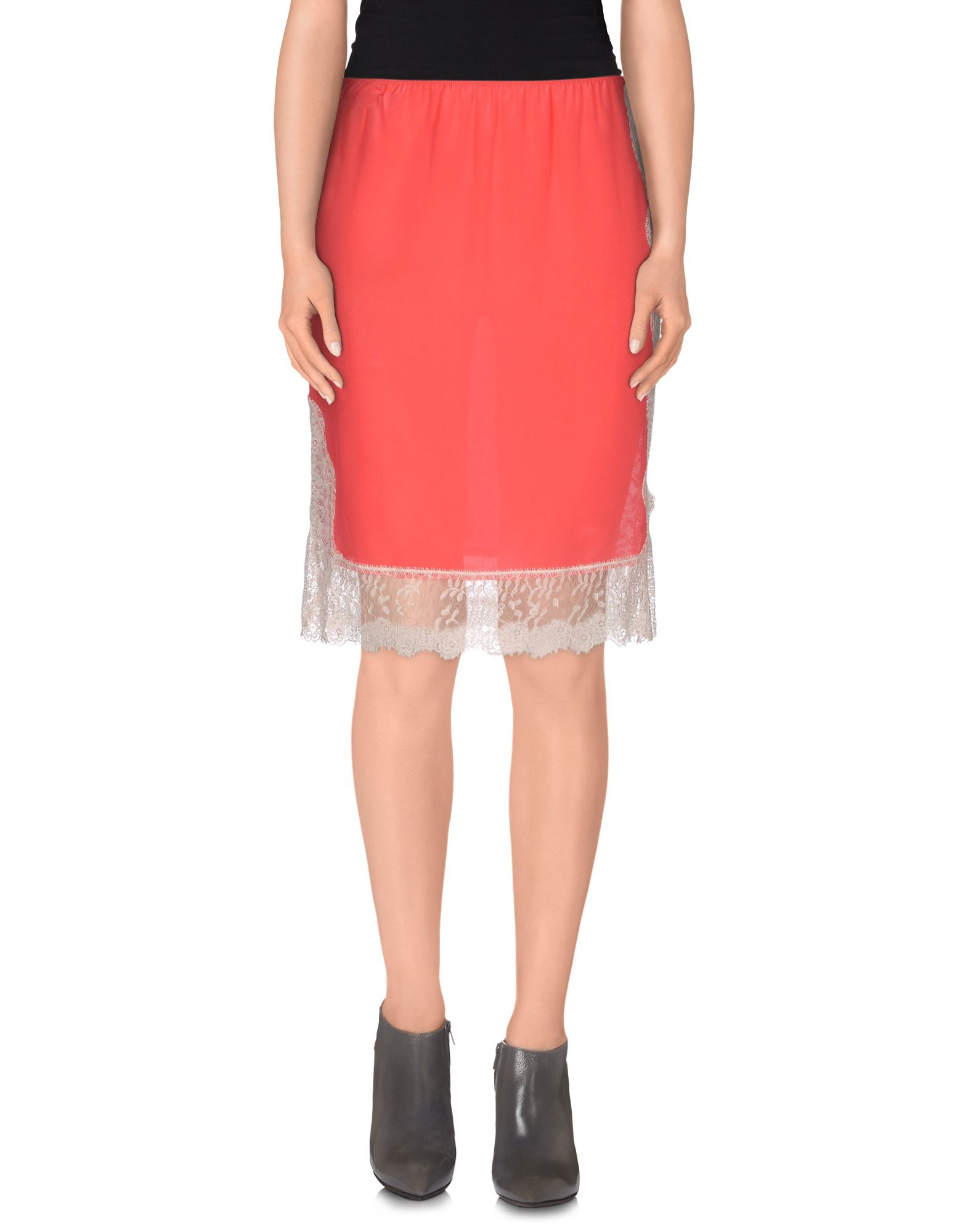 pinko knee length skirt in pink coral save 64 lyst