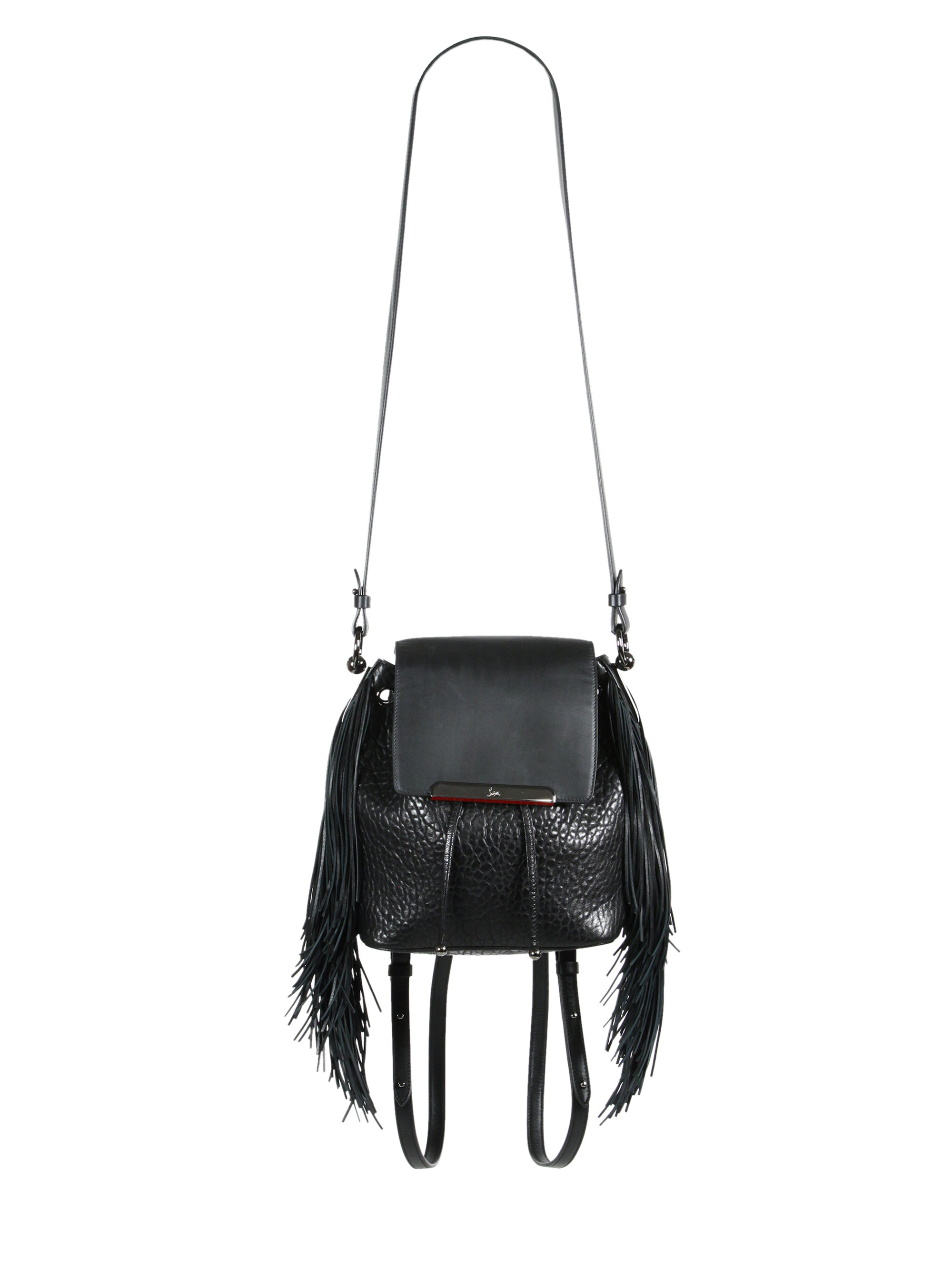 8d029a7595 Christian Louboutin Lucky L Convertible Fringed Pebbled Leather ...