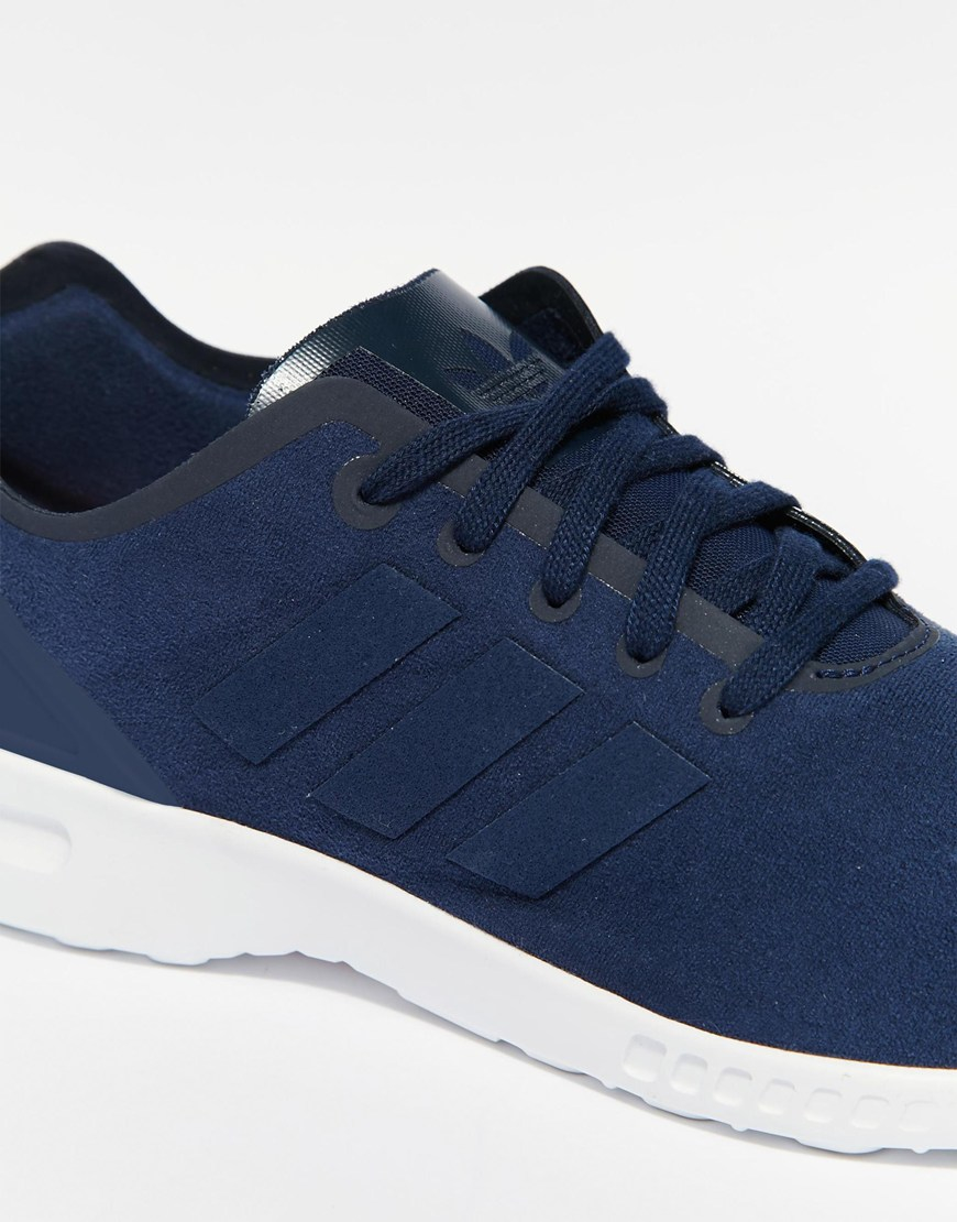 c7cb4bcab76 adidas Originals Zx Flux Smooth Navy Sneakers in Blue - Lyst