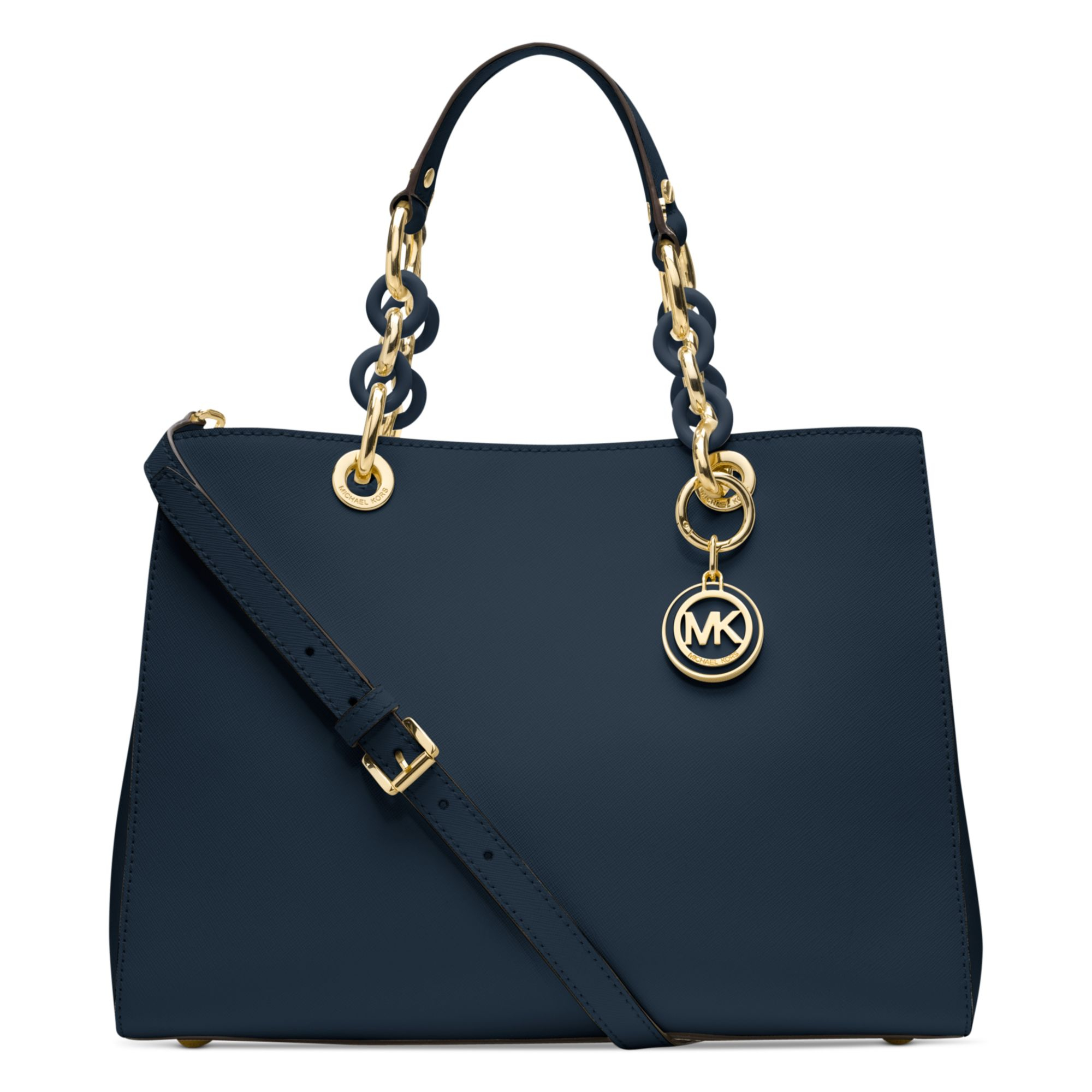 michael kors cynthia medium satchel in blue lyst. Black Bedroom Furniture Sets. Home Design Ideas