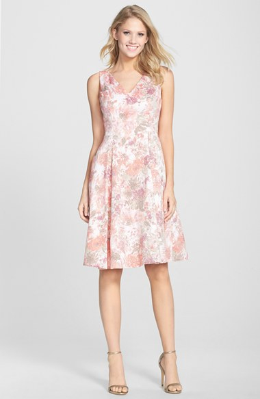 Adrianna Papell Jacquard V Neck Fit Amp Flare Dress In Pink