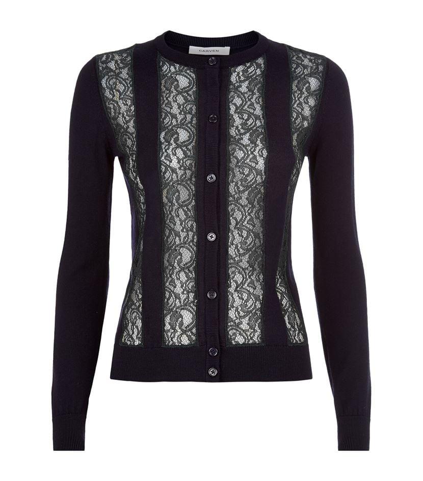 Carven Lace Insert Cardigan in Black | Lyst