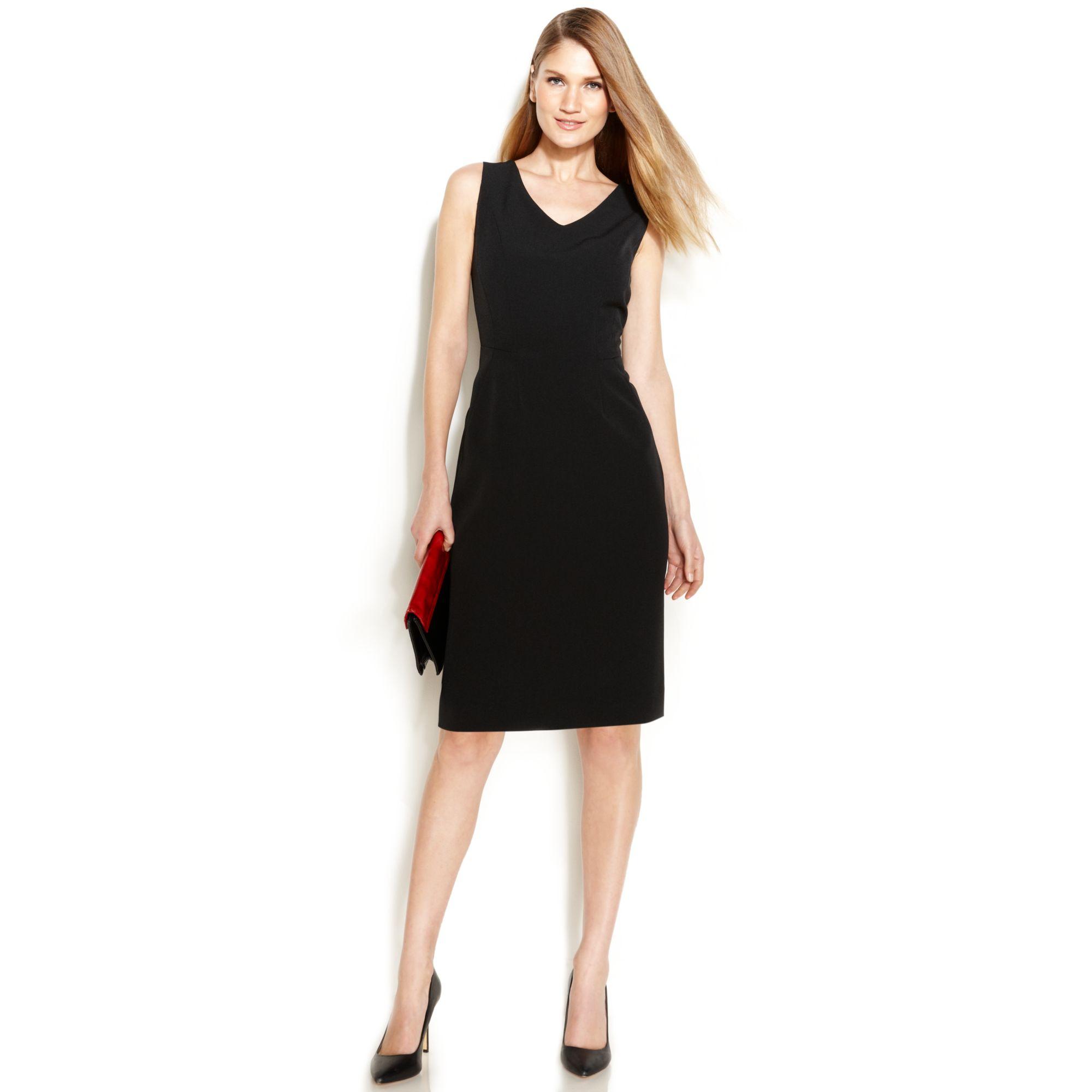Anne Klein Sleeveless V-Neck Sheath Dress In Black