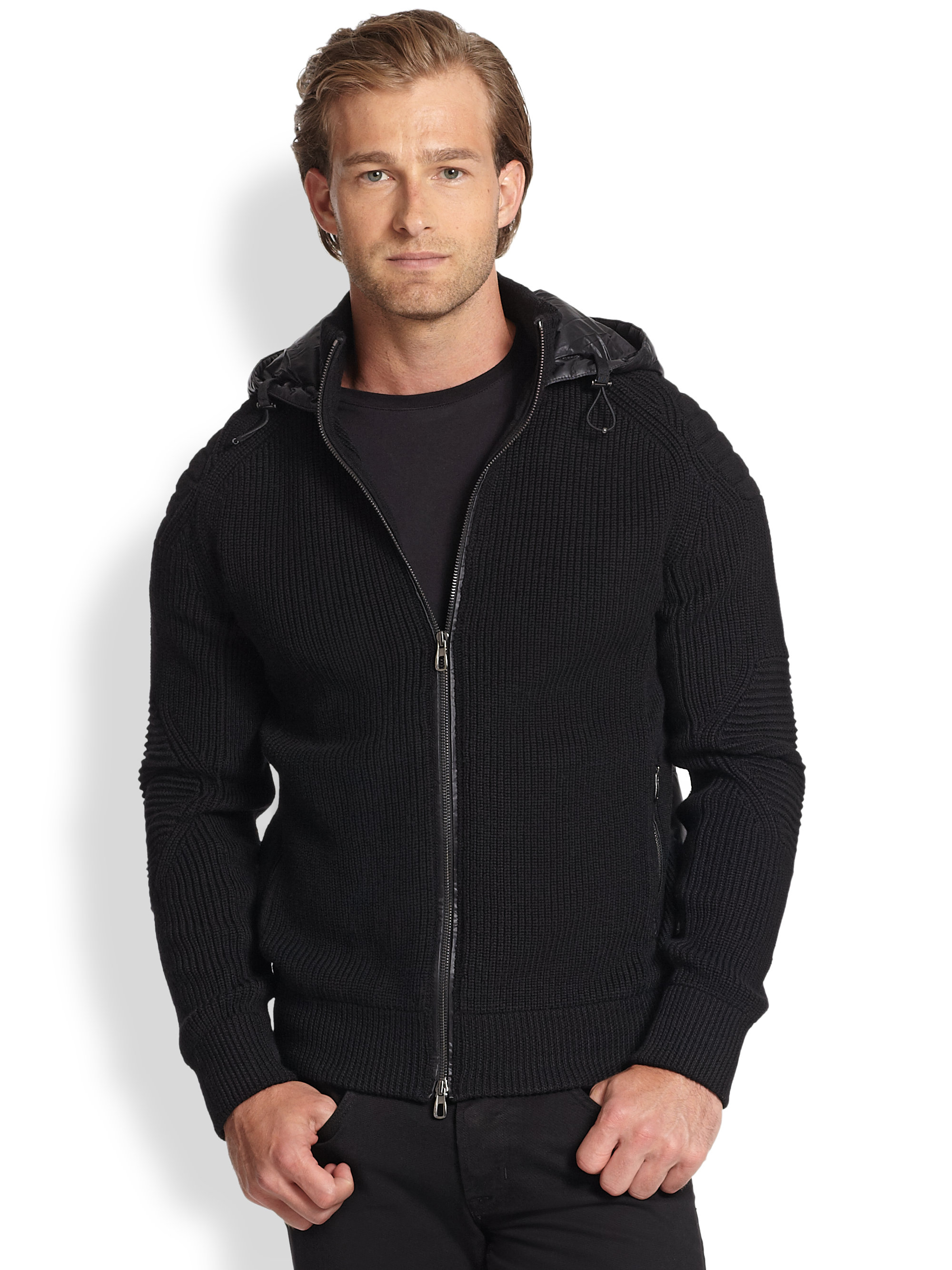 Polo ralph lauren Mixed-Media Full-Zip Hoodie in Black for Men | Lyst