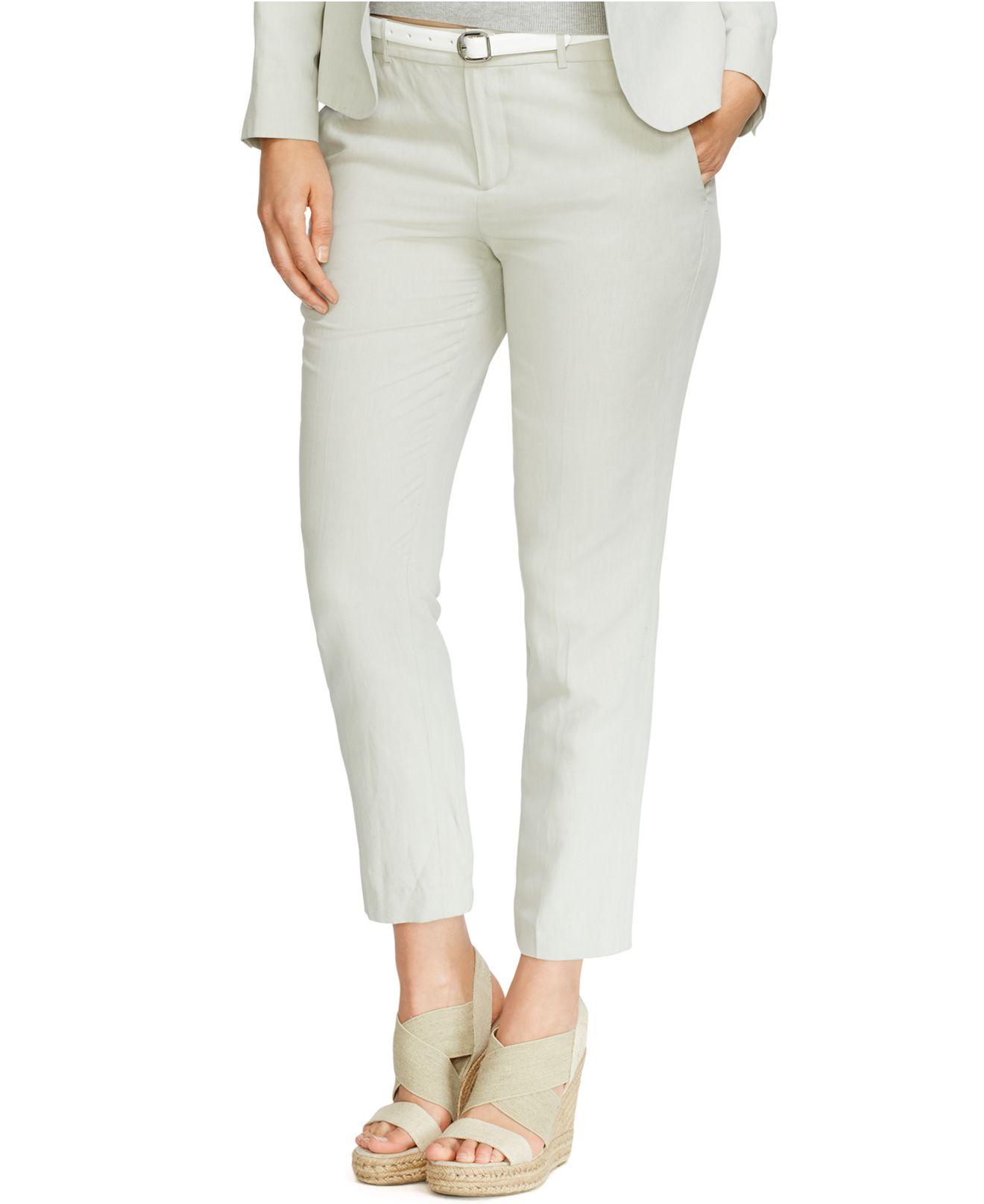 823d3e1ae86ed Lyst - Lauren by Ralph Lauren Plus Size Silk-Linen Skinny Pants in Gray