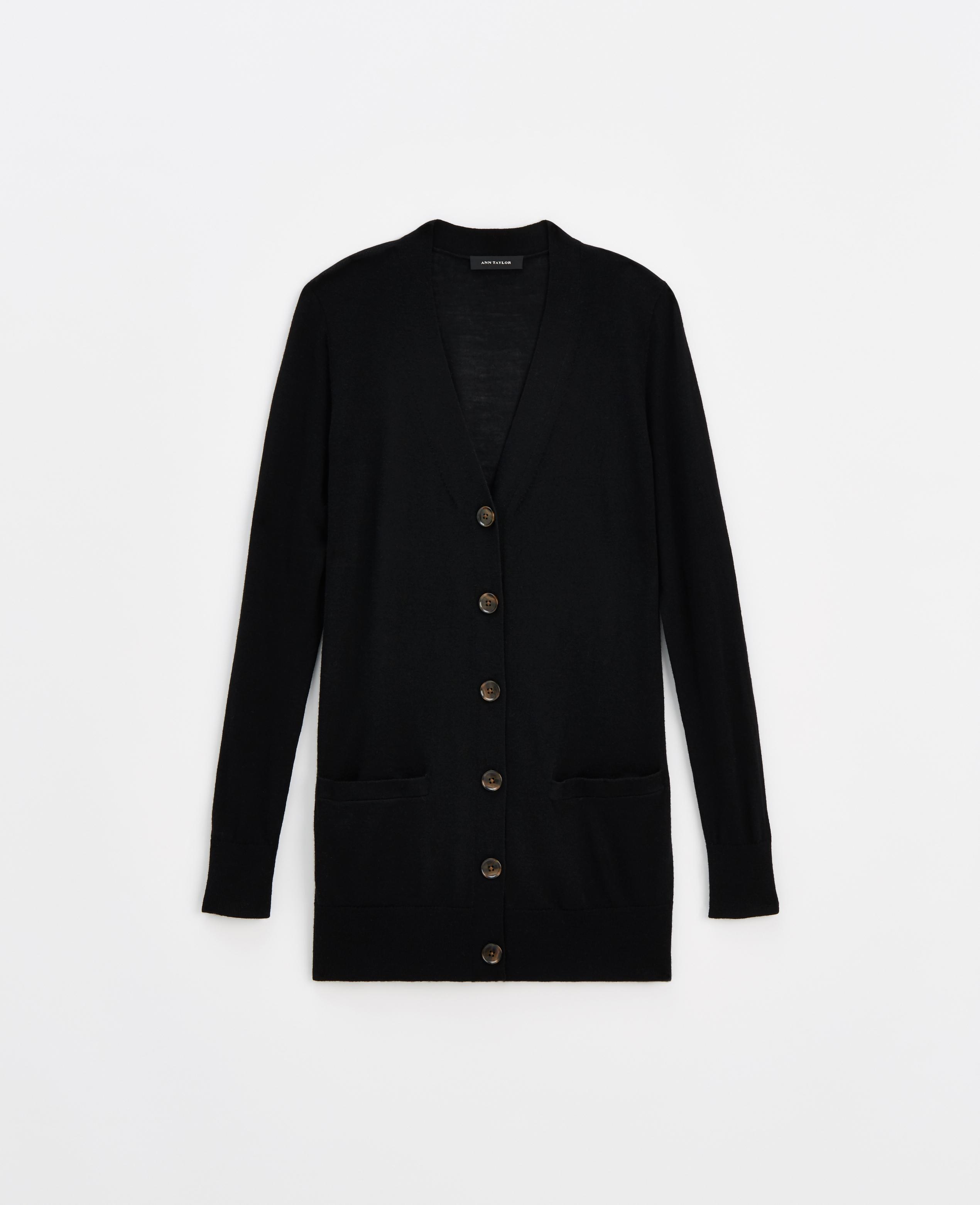 Ann taylor Merino Wool Boyfriend Cardigan in Black | Lyst