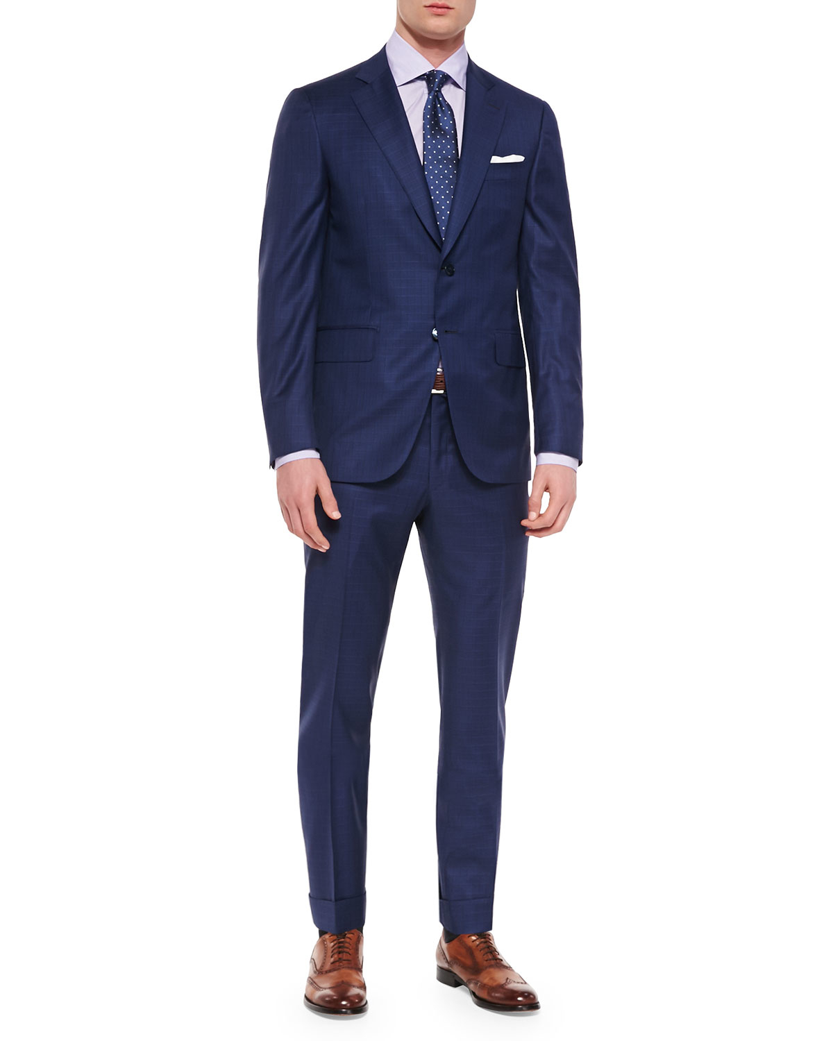 Isaia Box Check Two-piece Suit in Blue for Men