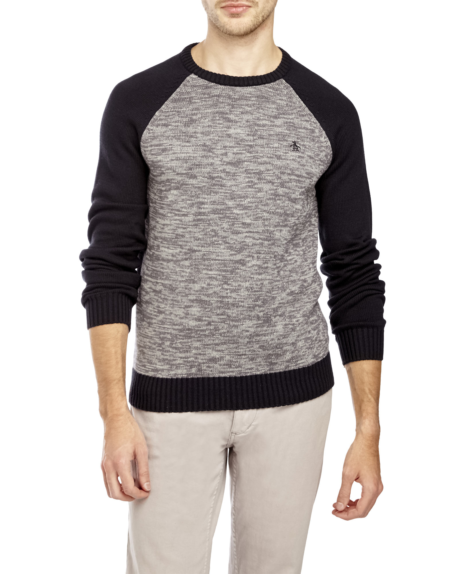 Original penguin Color Block Raglan Sweater in Black for Men | Lyst
