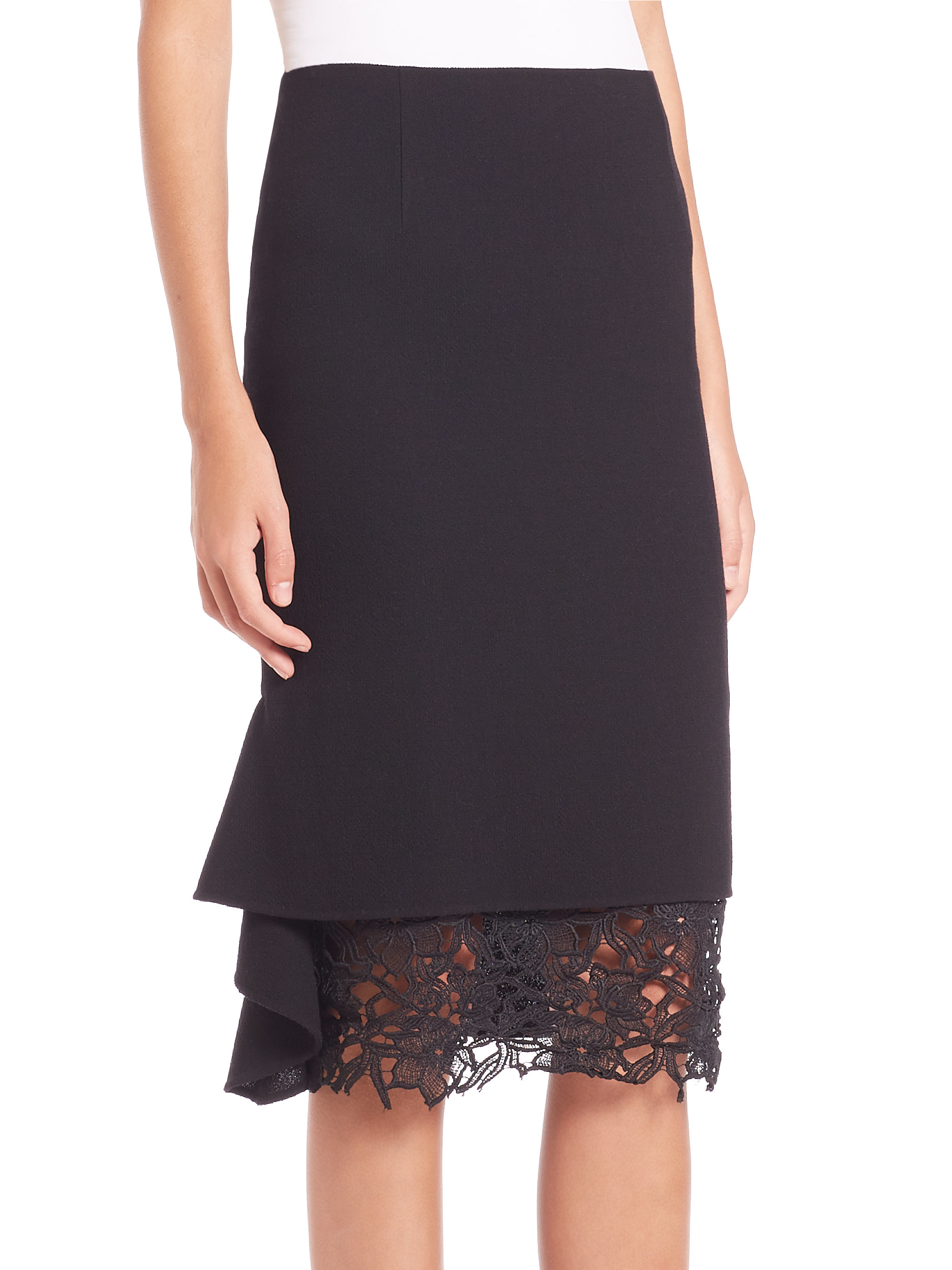 lyst oscar de la renta side ruffle lace hem wool skirt in black. Black Bedroom Furniture Sets. Home Design Ideas