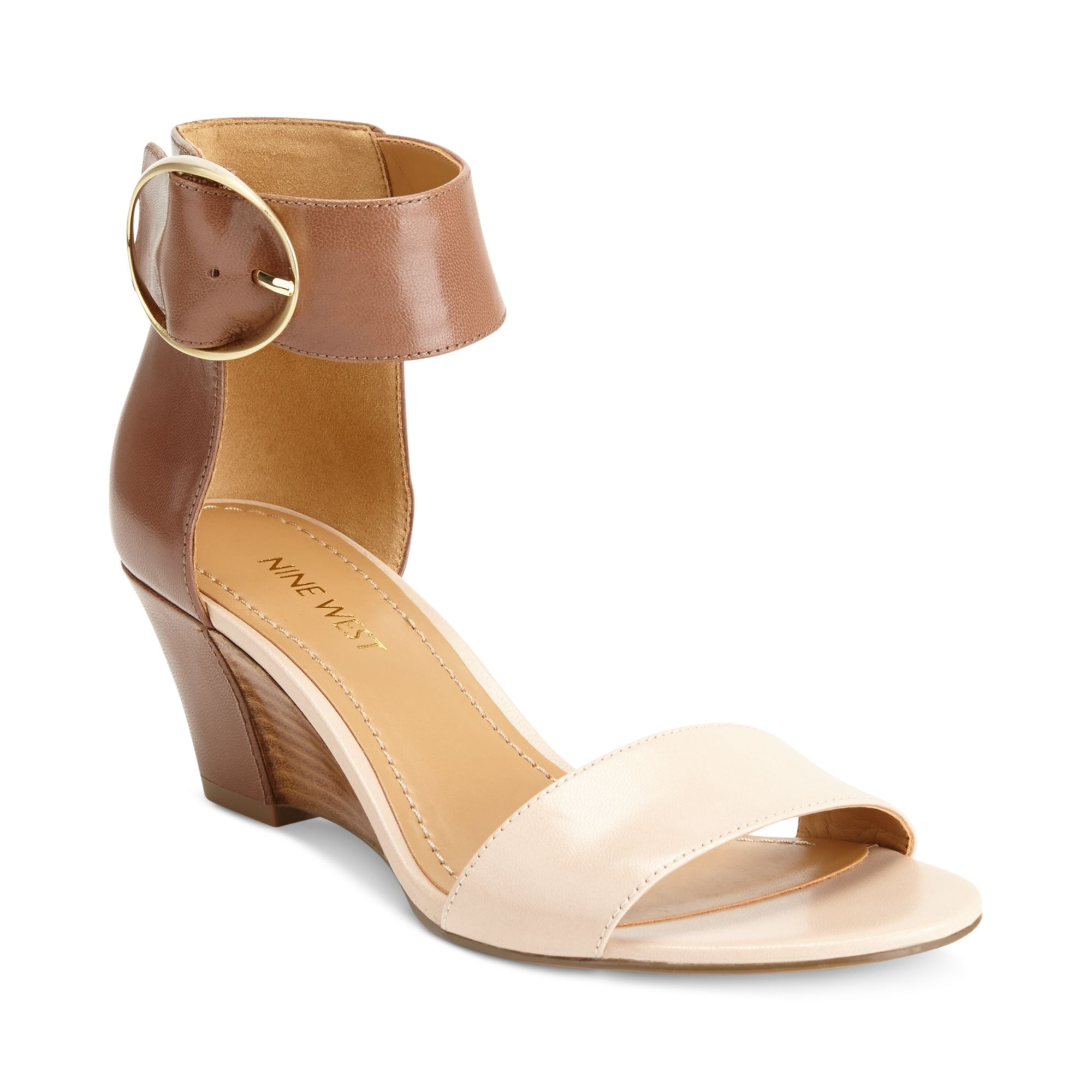ac131b7844 Nine West Ventana Ankle Strap Demi Wedge Sandals in Brown - Lyst