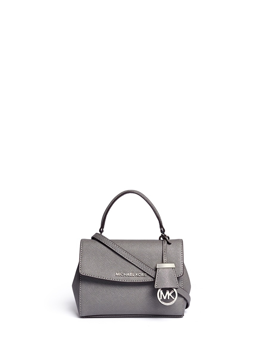 86d09a291f06 Lyst - Michael Kors  ava  Petite Saffiano Leather Crossbody Bag in Gray