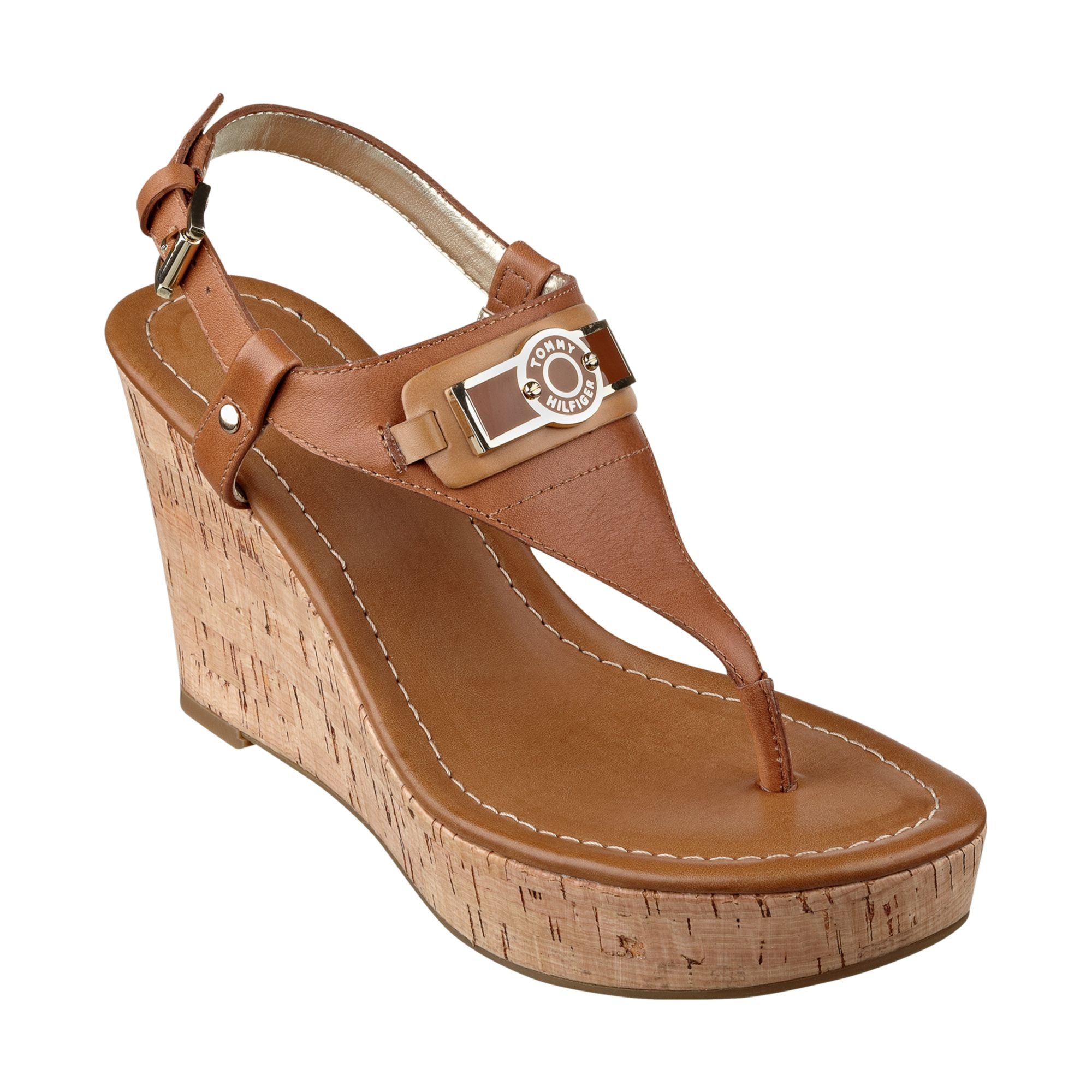 7636dfa90 Lyst - Tommy Hilfiger Womens Monor Platform Wedge Thong Sandals in Brown