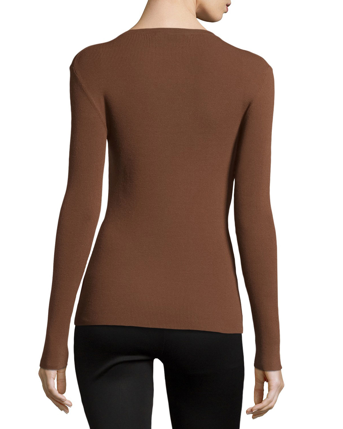 Michael kors long sleeve fitted top in brown lyst for Adam lippes women s long sleeve vee t shirt