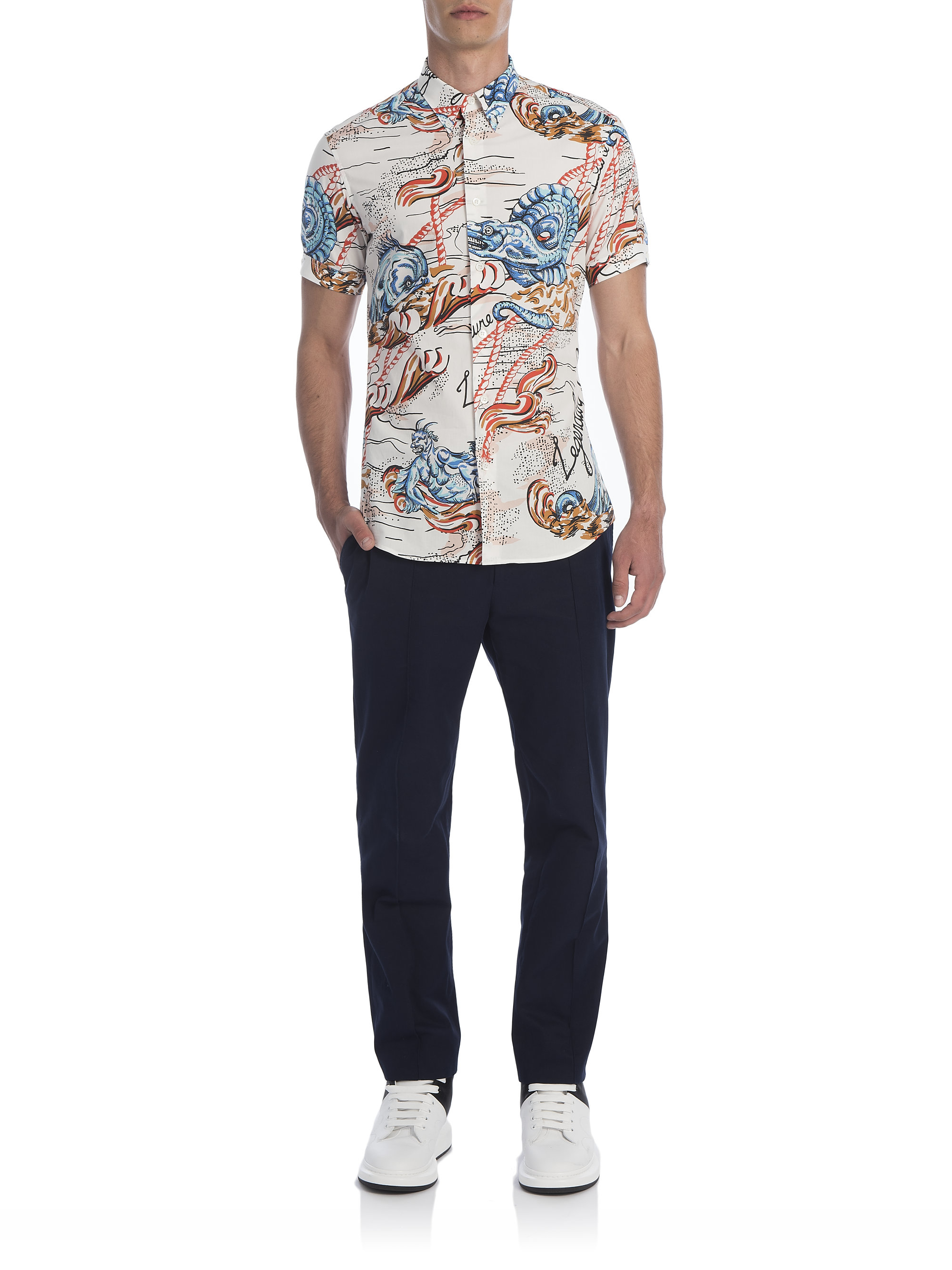 Lyst - Alexander Mcqueen Sea Creature Print Shirt in Blue ...