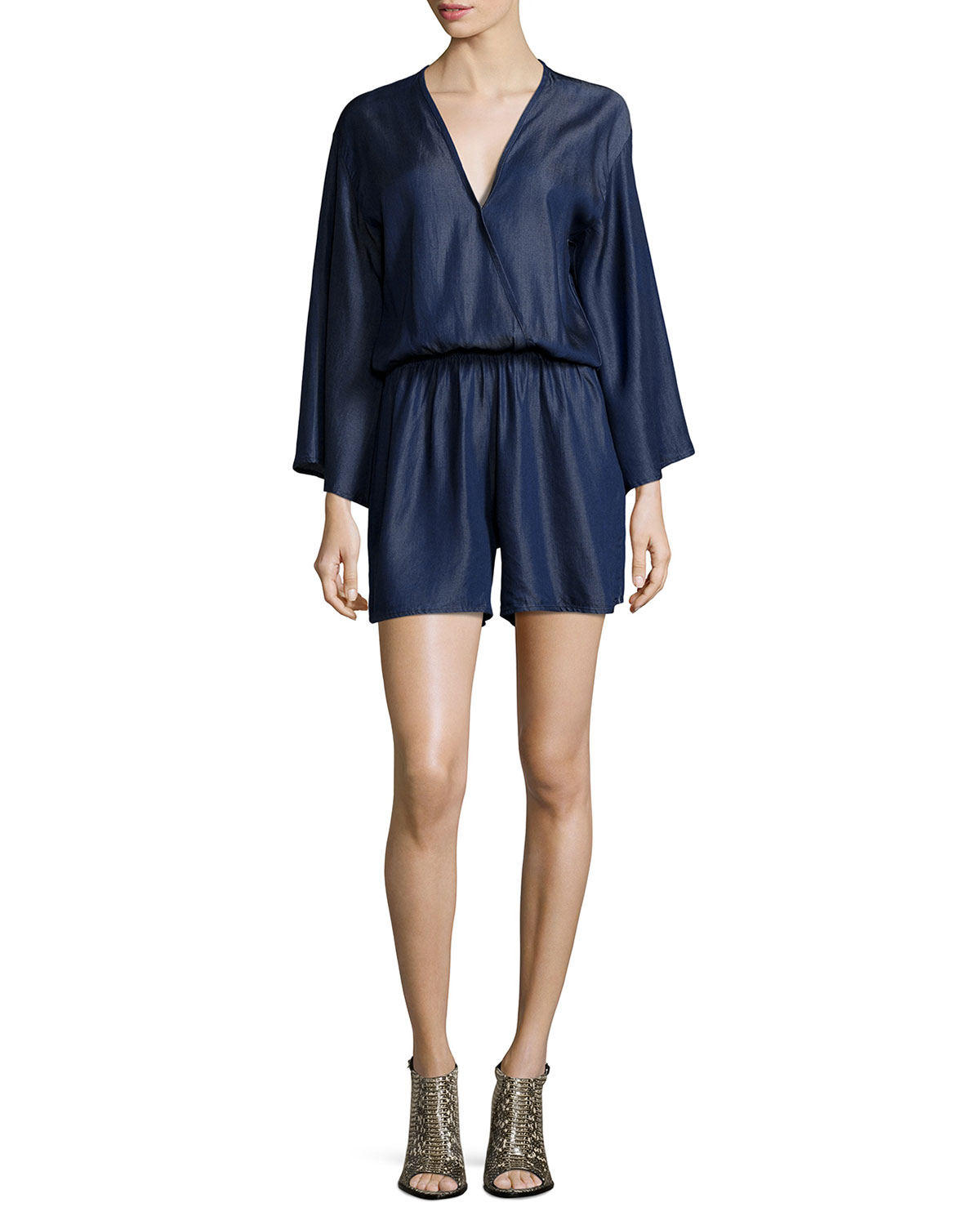 05f8416ec580 Lyst - Fraiche By J Surplice-neck Long-sleeve Romper in Blue