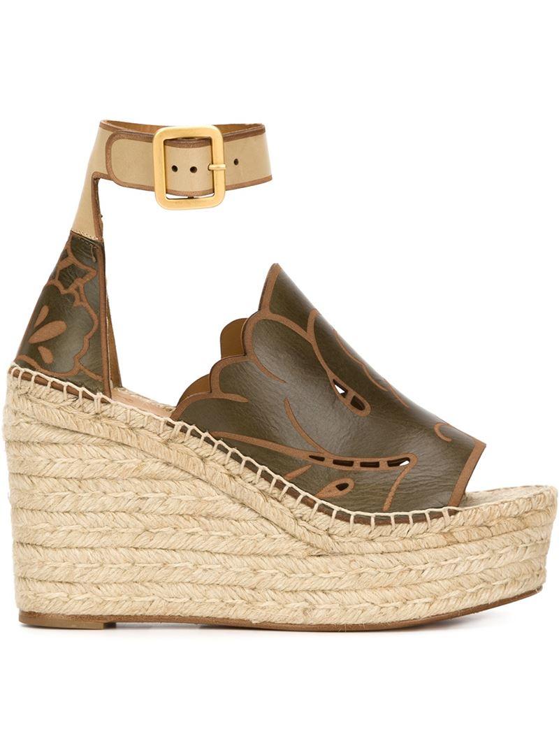 3145be3d2ba Lyst - Chloé  isa  Wedge Sandals in Brown