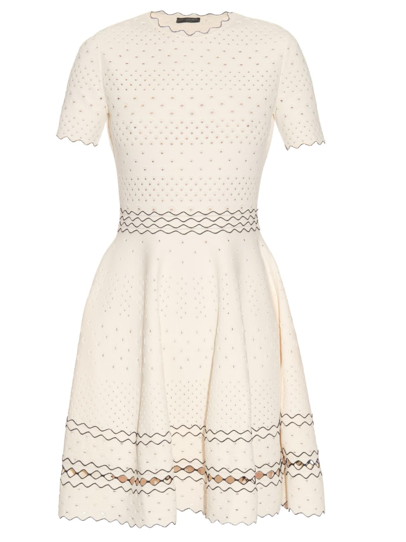 c546dfac553 Alexander McQueen Short-sleeved Textured Eyelet-knit Dress in White ...