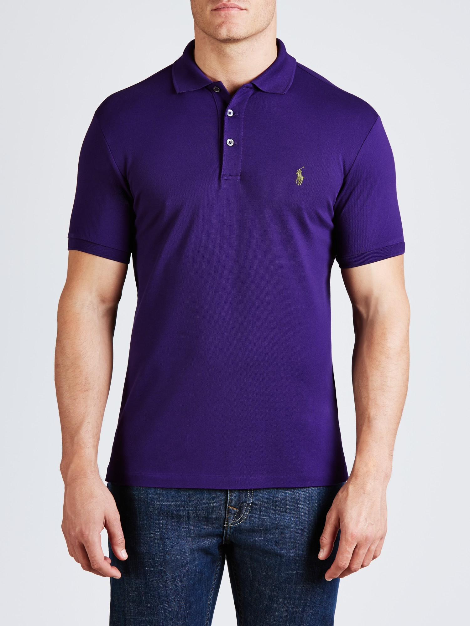 Polo ralph lauren slim fit polo shirt in purple for men lyst for Mens slim fit polo shirt