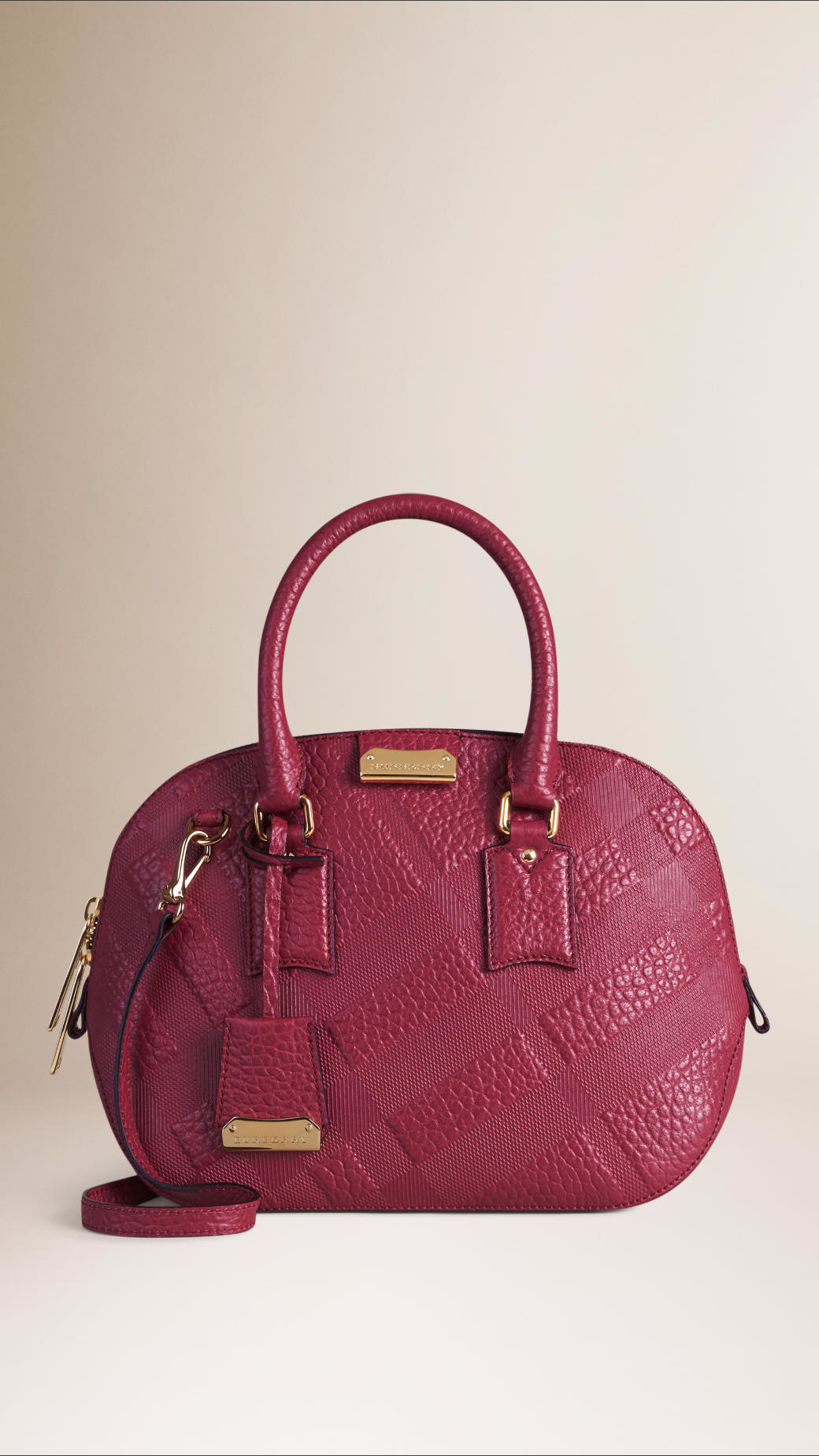 82a763a98d9d Burberry The Small Orchard Embossed Check Leather Bag in Purple - Lyst