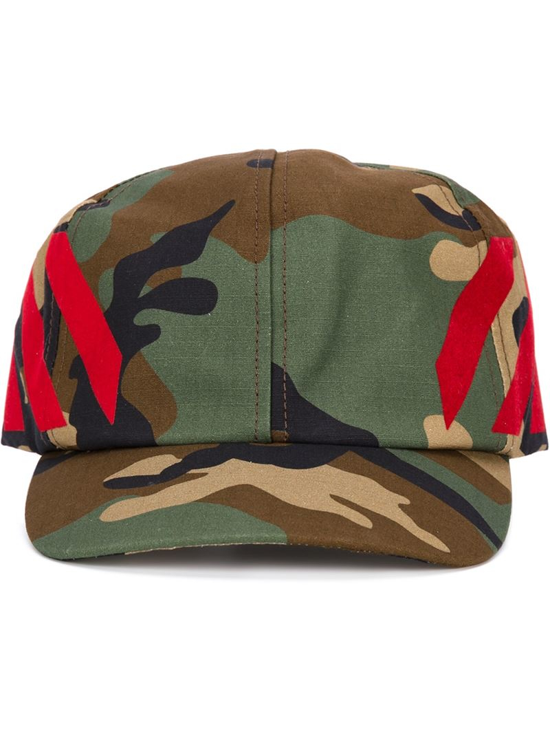 65f308fb102 Lyst - Off-White c o Virgil Abloh Camouflage Print Cap in Red for Men