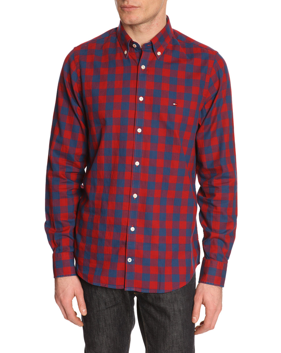 tommy hilfiger red and blue new york fit plaid check shirt. Black Bedroom Furniture Sets. Home Design Ideas