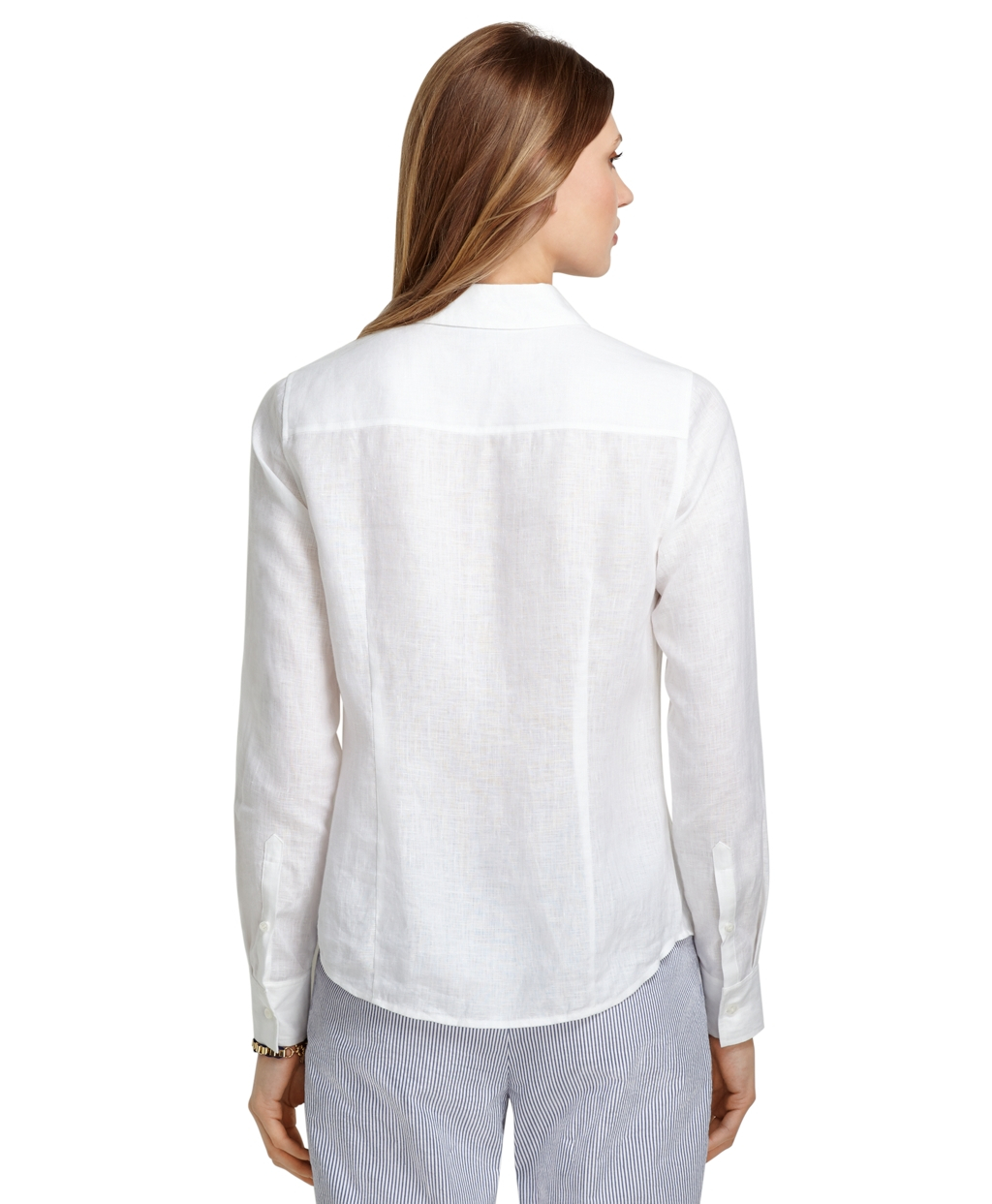 Brooks brothers petite fitted irish linen dress shirt in for Irish linen dress shirts