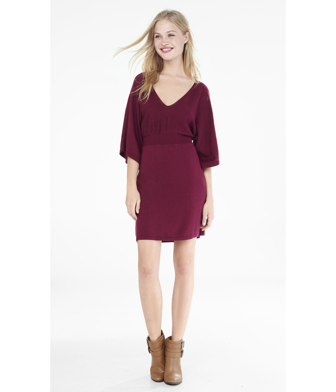 a59af74e8a8 Lyst - Express Berry Kimono Sleeve V-neck Sweater Dress in Purple